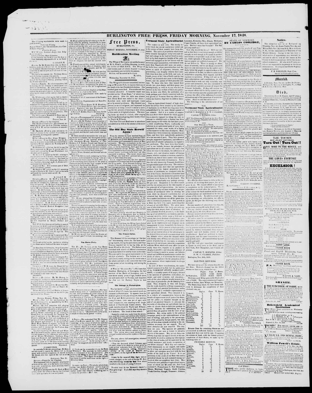 Newspaper of Burlington Free Press dated November 17, 1848 Page 2