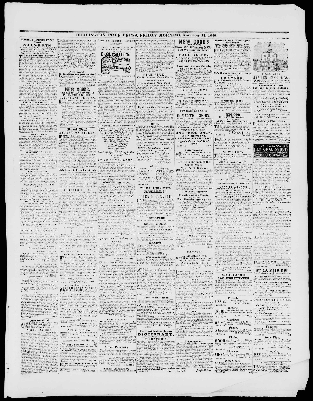 Newspaper of Burlington Free Press dated November 17, 1848 Page 3