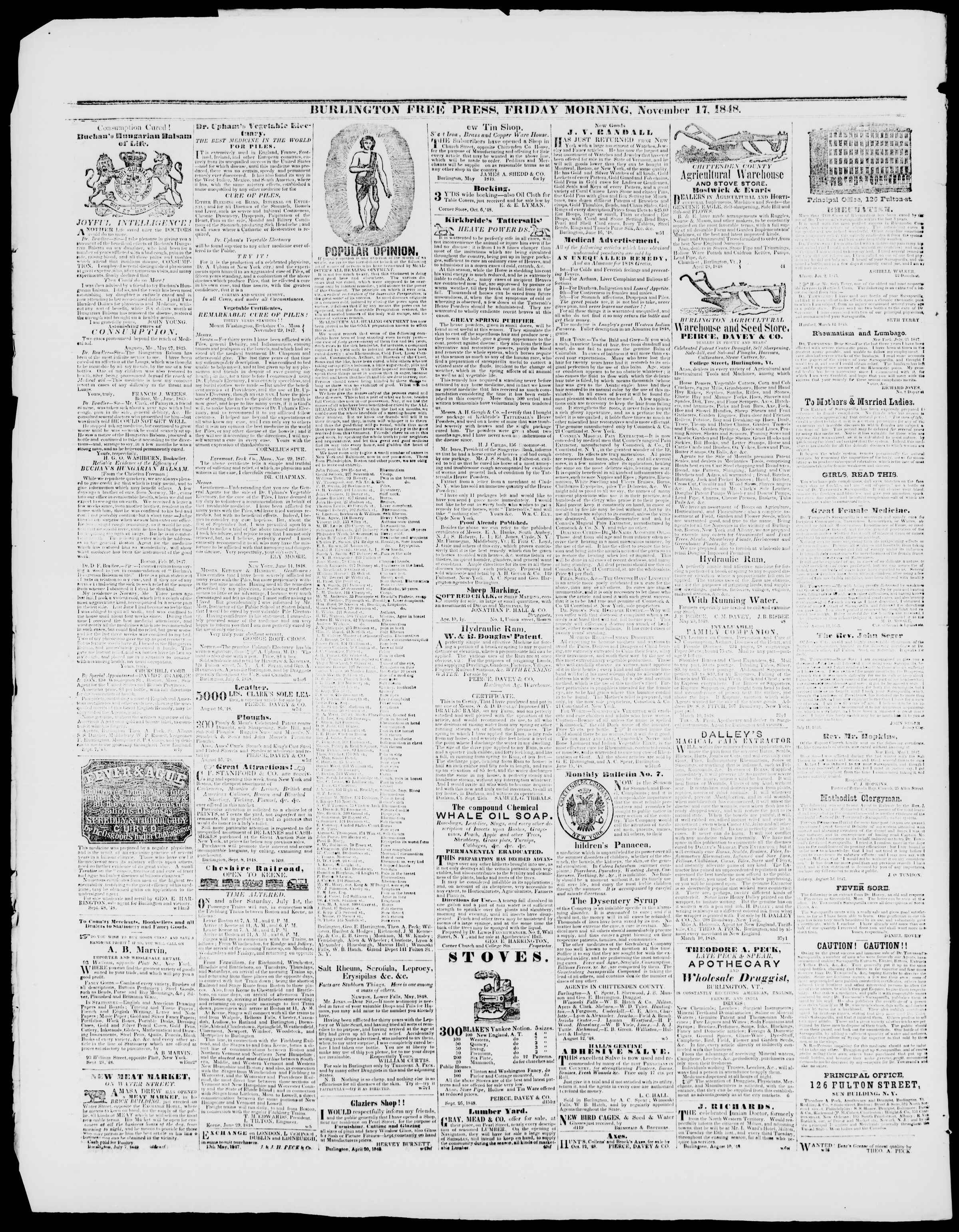 Newspaper of Burlington Free Press dated November 17, 1848 Page 4