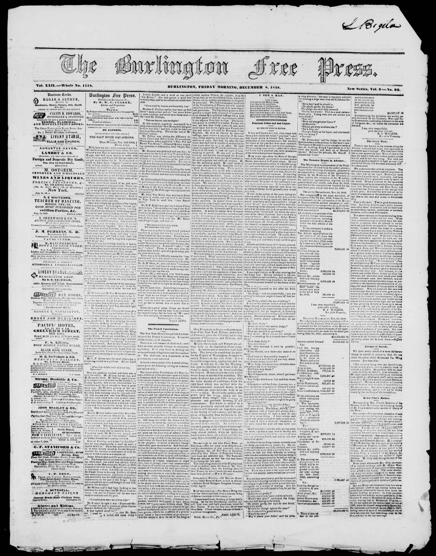 Newspaper of Burlington Free Press dated December 8, 1848 Page 1