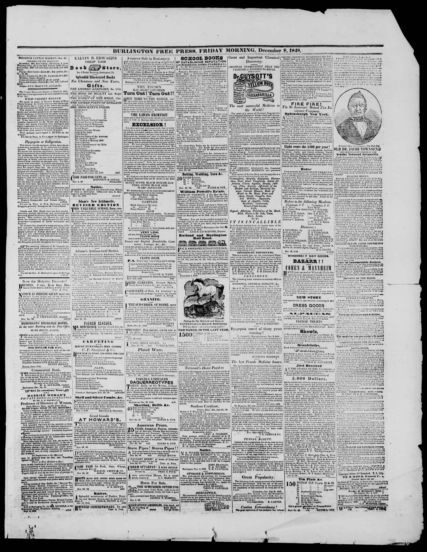 Newspaper of Burlington Free Press dated December 8, 1848 Page 3
