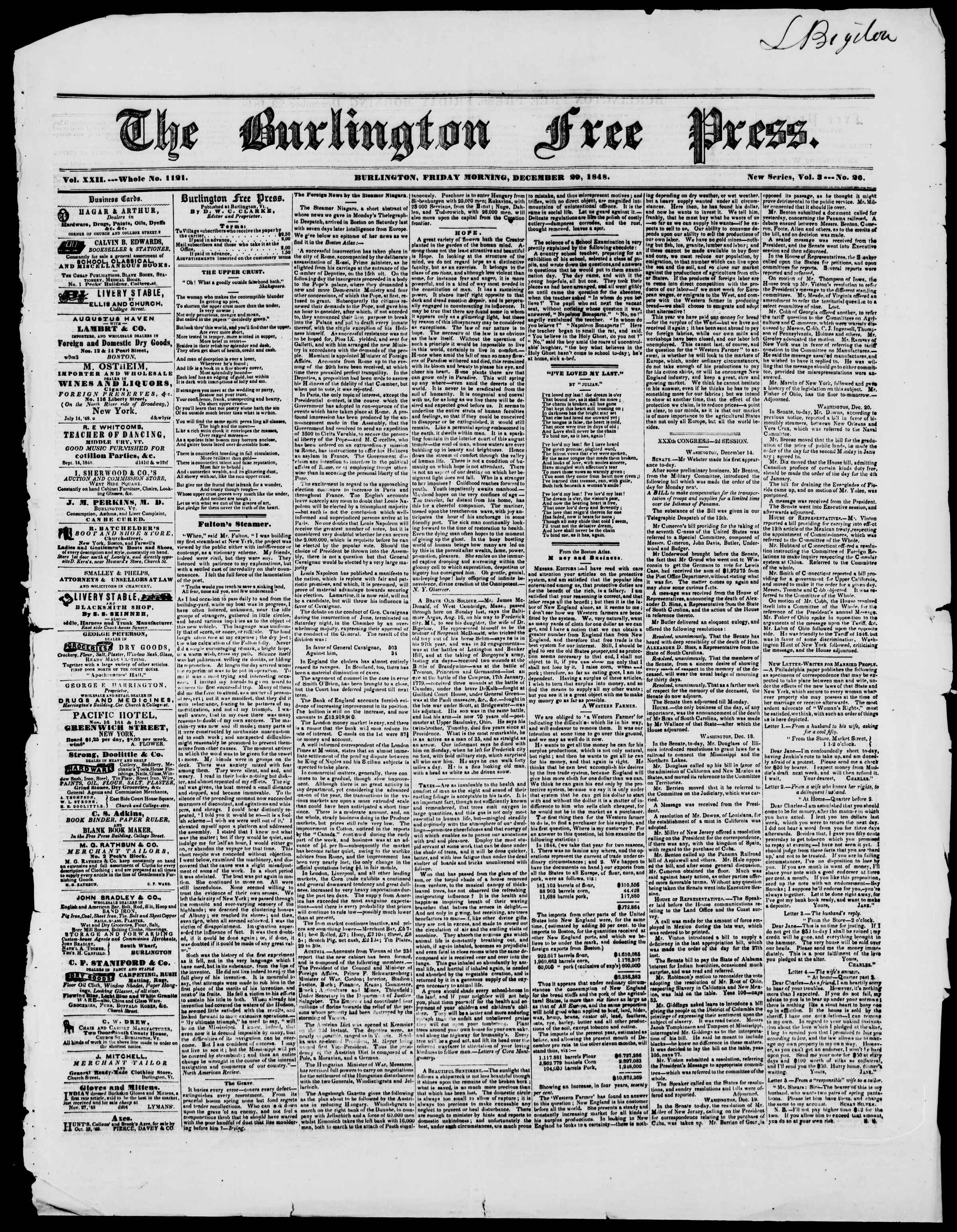 Newspaper of Burlington Free Press dated December 29, 1848 Page 1