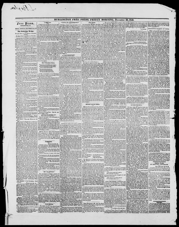 Newspaper of Burlington Free Press dated December 29, 1848 Page 2