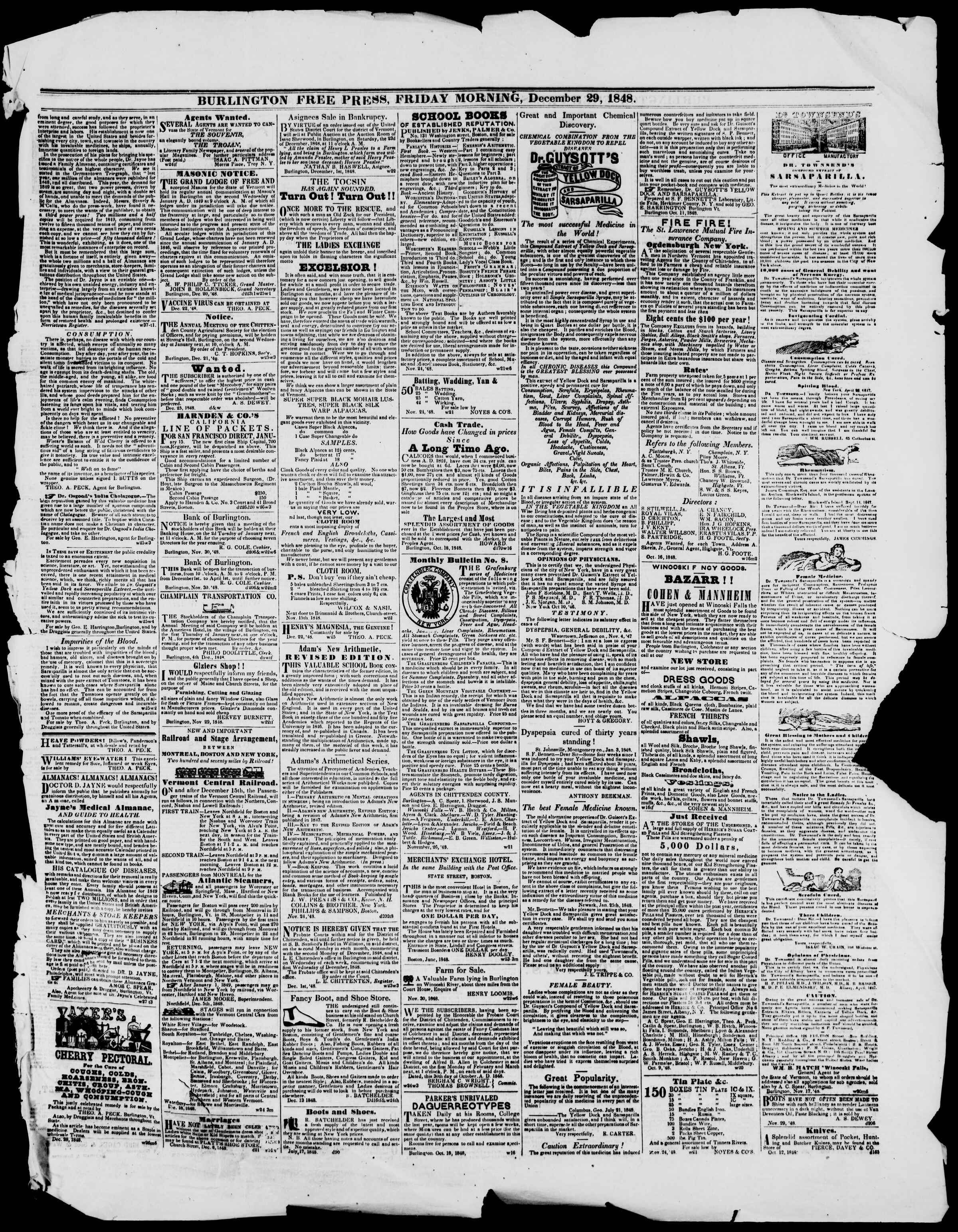 Newspaper of Burlington Free Press dated December 29, 1848 Page 3