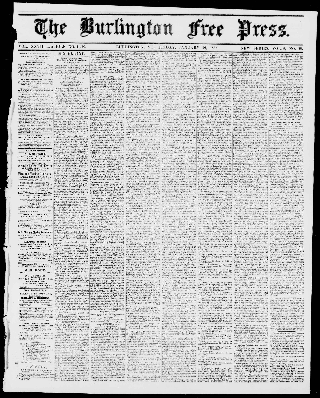 Newspaper of Burlington Free Press dated January 26, 1855 Page 1