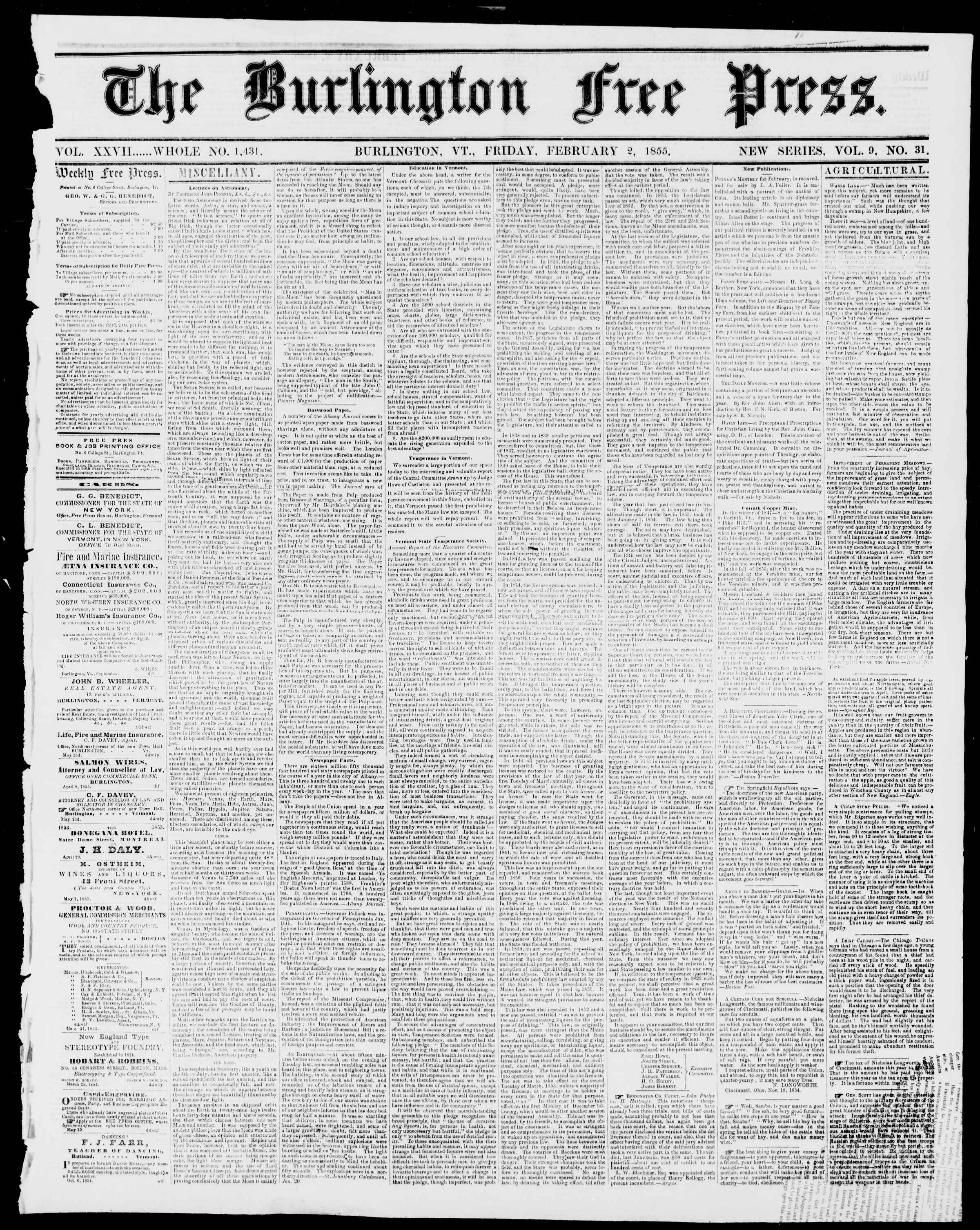 Newspaper of Burlington Free Press dated February 2, 1855 Page 1