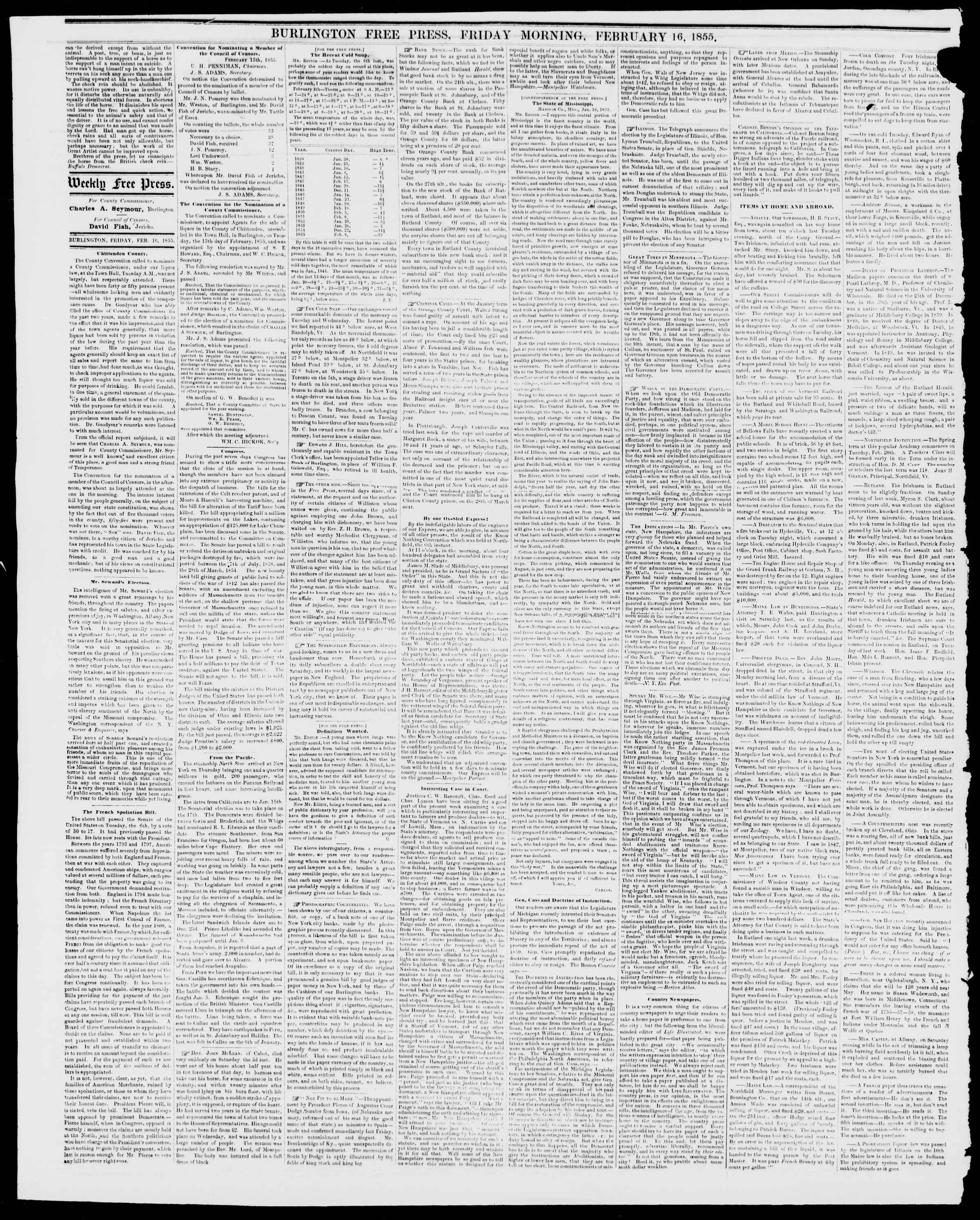 Newspaper of Burlington Free Press dated February 16, 1855 Page 2