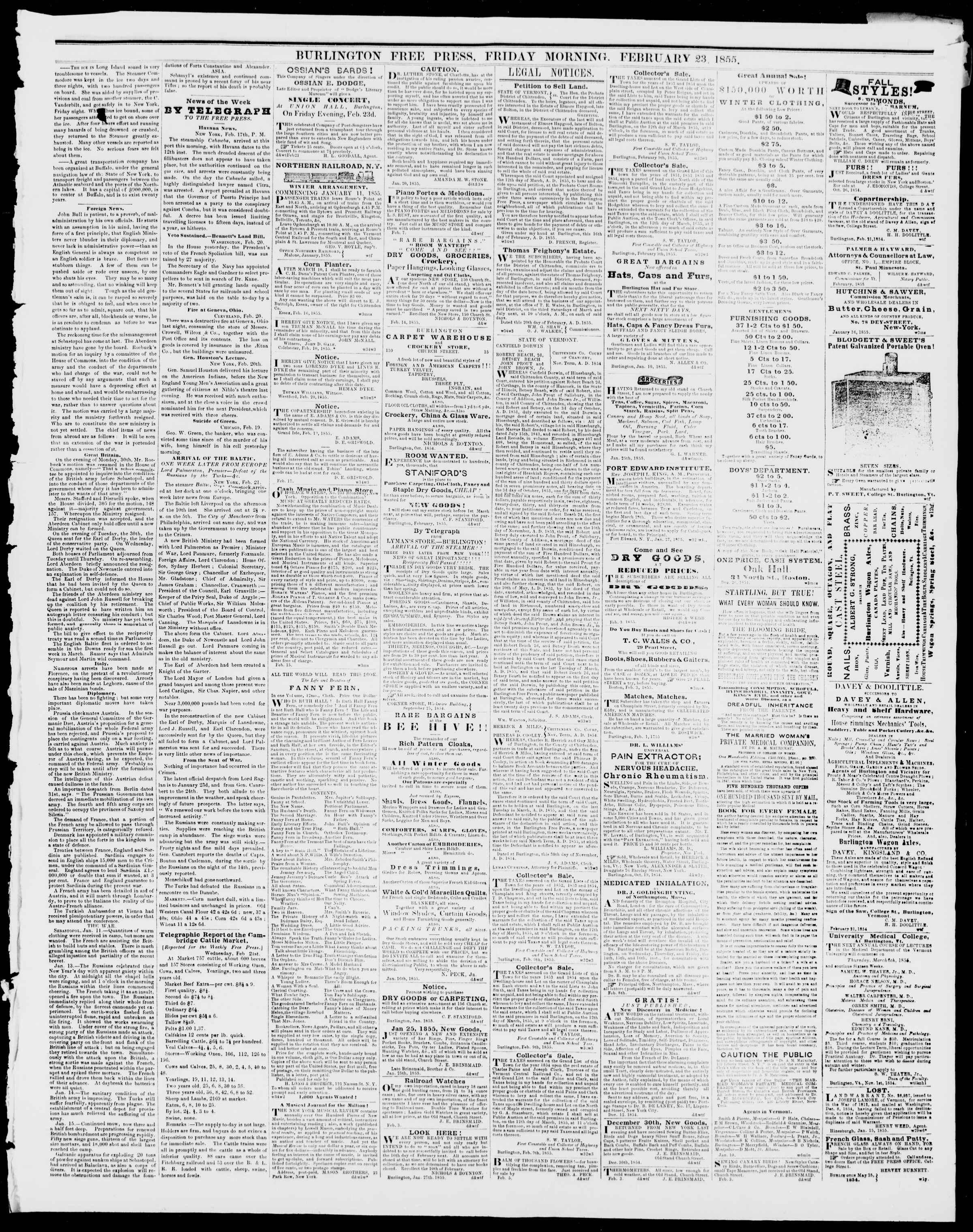 Newspaper of Burlington Free Press dated February 23, 1855 Page 3