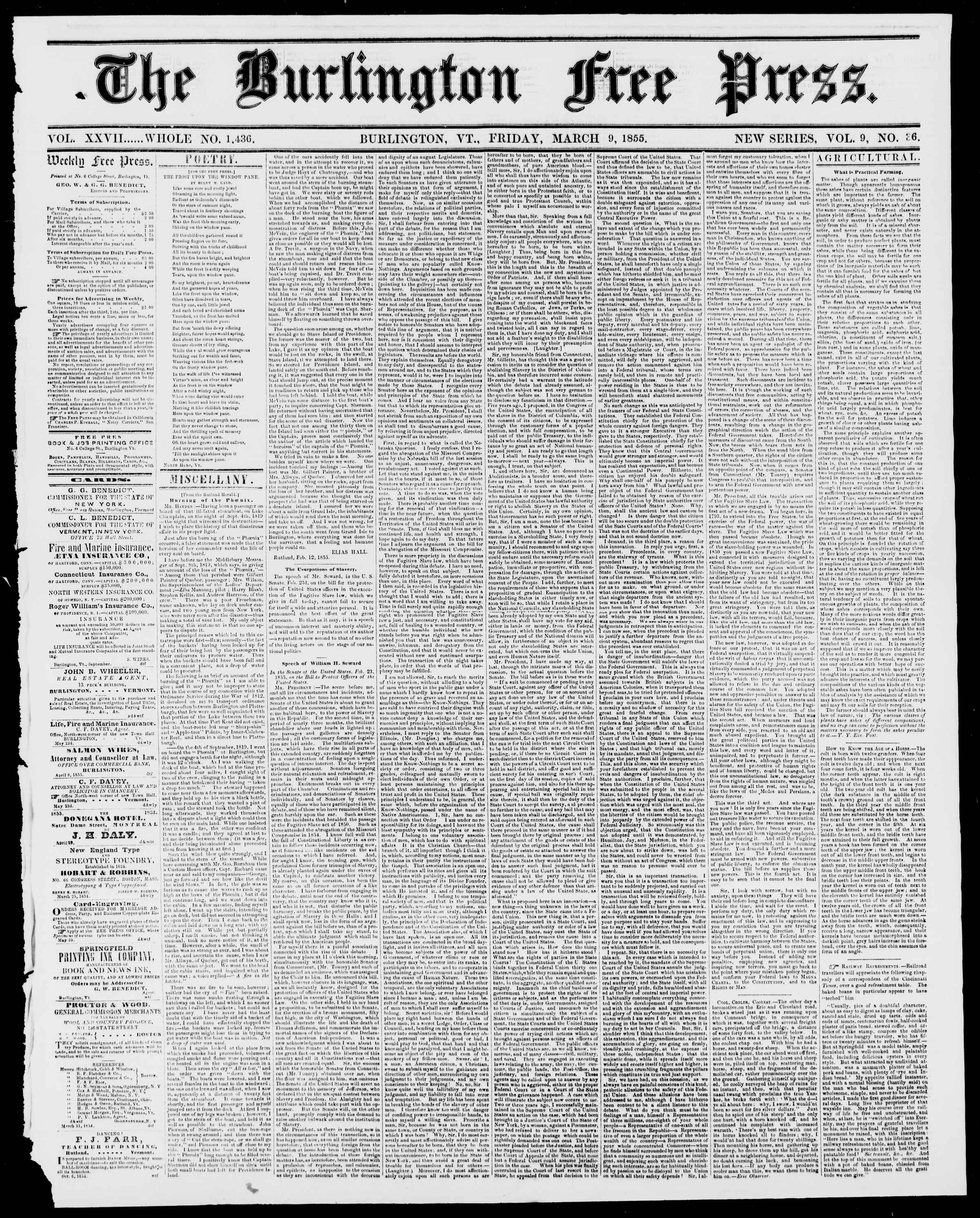 Newspaper of Burlington Free Press dated March 9, 1855 Page 1