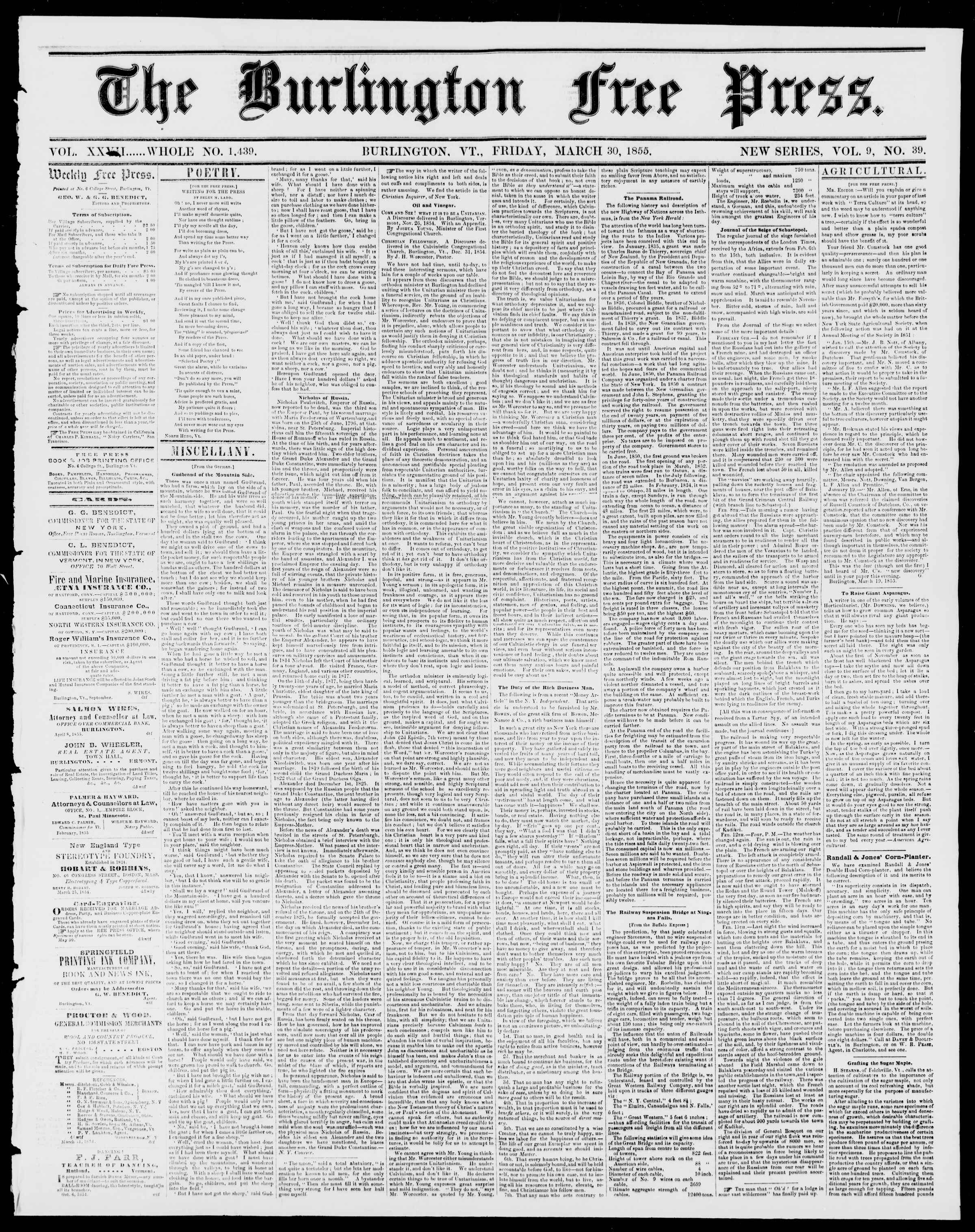 Newspaper of Burlington Free Press dated March 30, 1855 Page 1