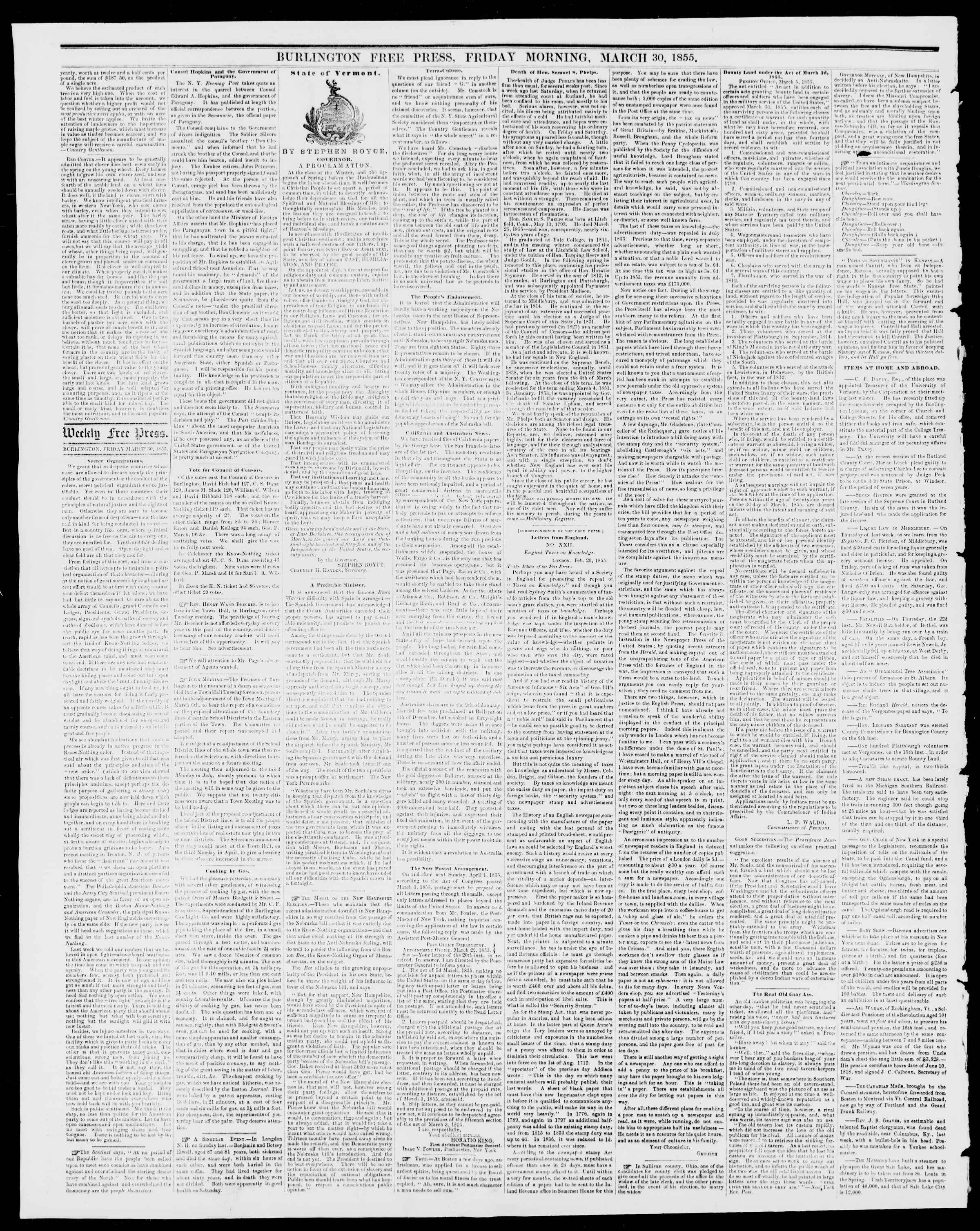 Newspaper of Burlington Free Press dated March 30, 1855 Page 2