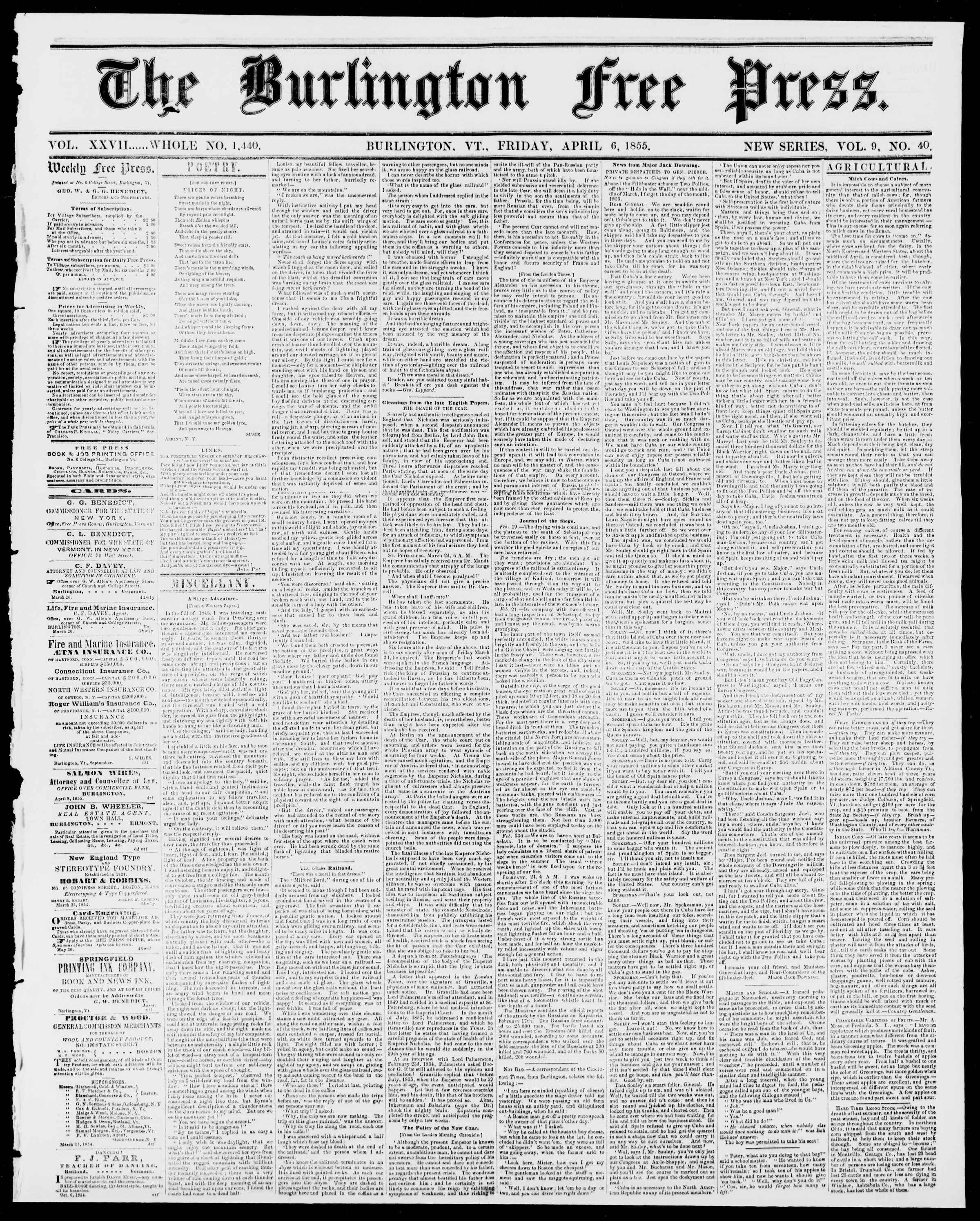 Newspaper of Burlington Free Press dated April 6, 1855 Page 1