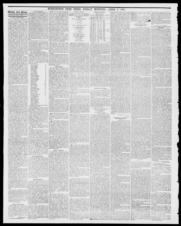 Newspaper of Burlington Free Press dated April 6, 1855 Page 2