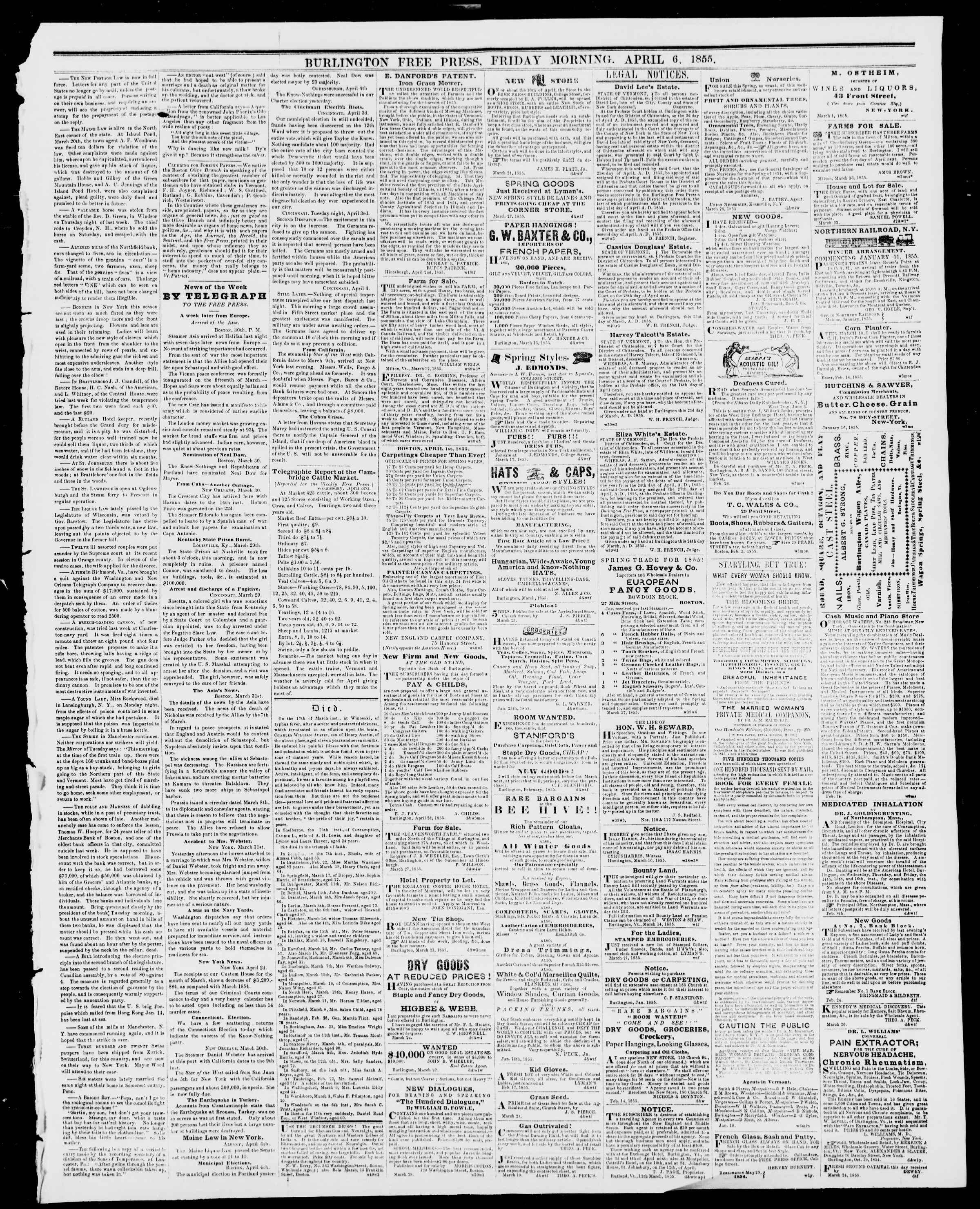 Newspaper of Burlington Free Press dated April 6, 1855 Page 3