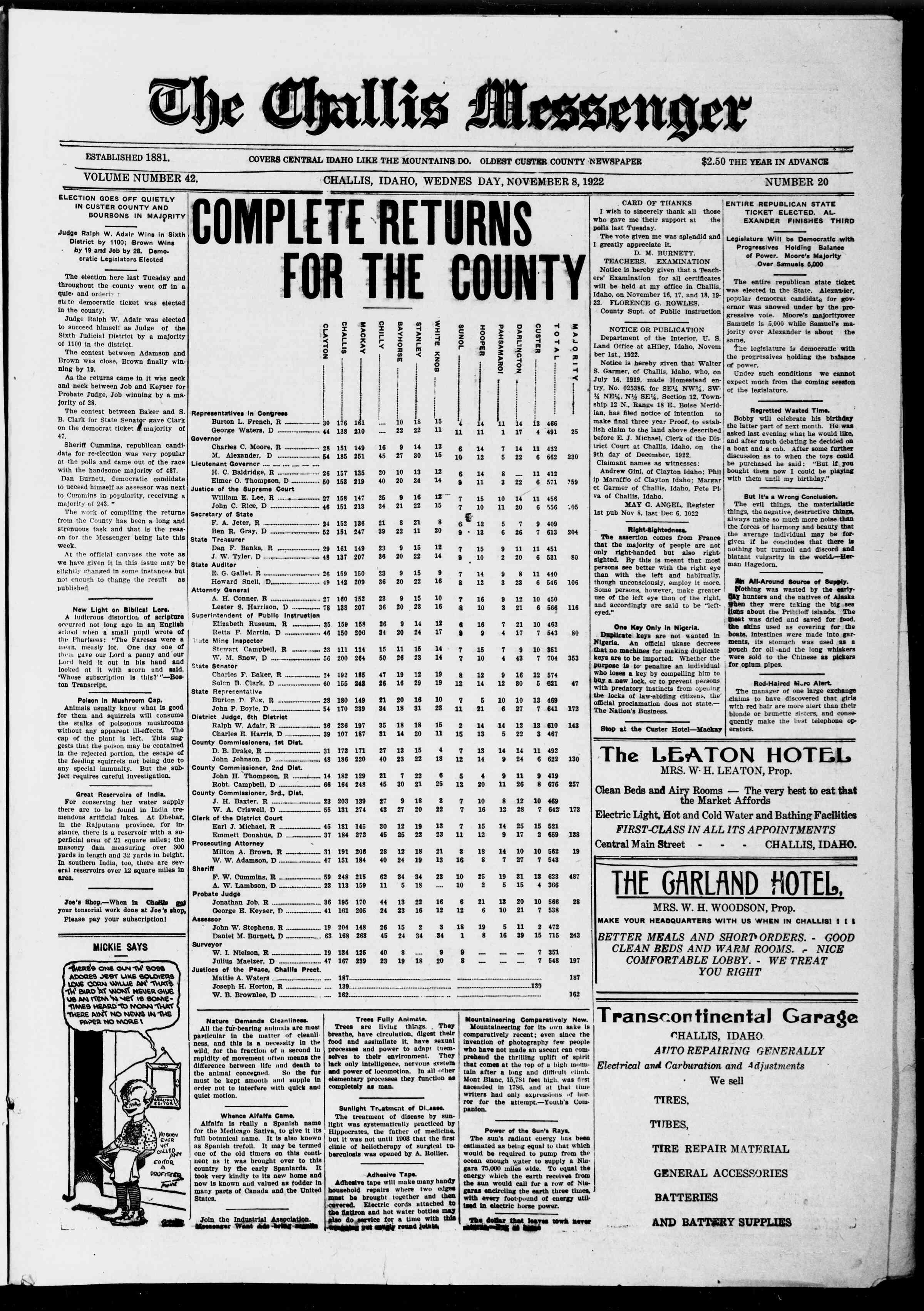 8 Kasım 1922 tarihli The Challis Messenger Gazetesi Sayfa 1