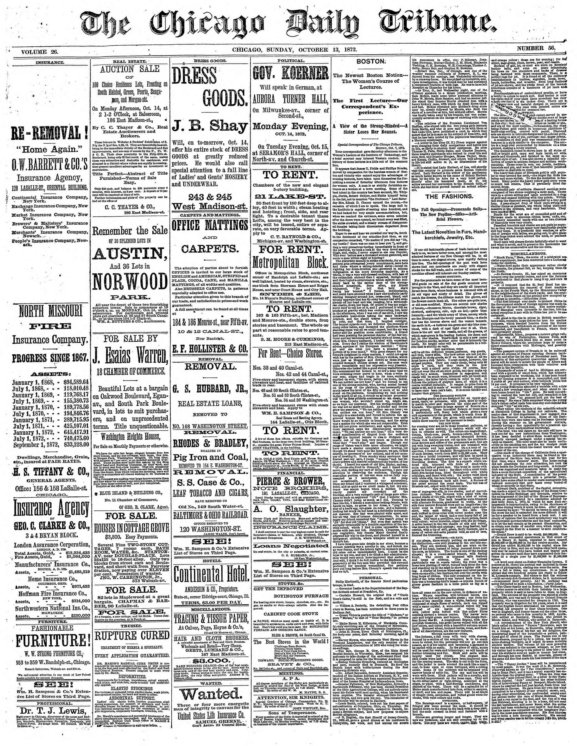 13 Ekim 1872 Tarihli Chicago Daily Tribune Dergisi Sayfa 1