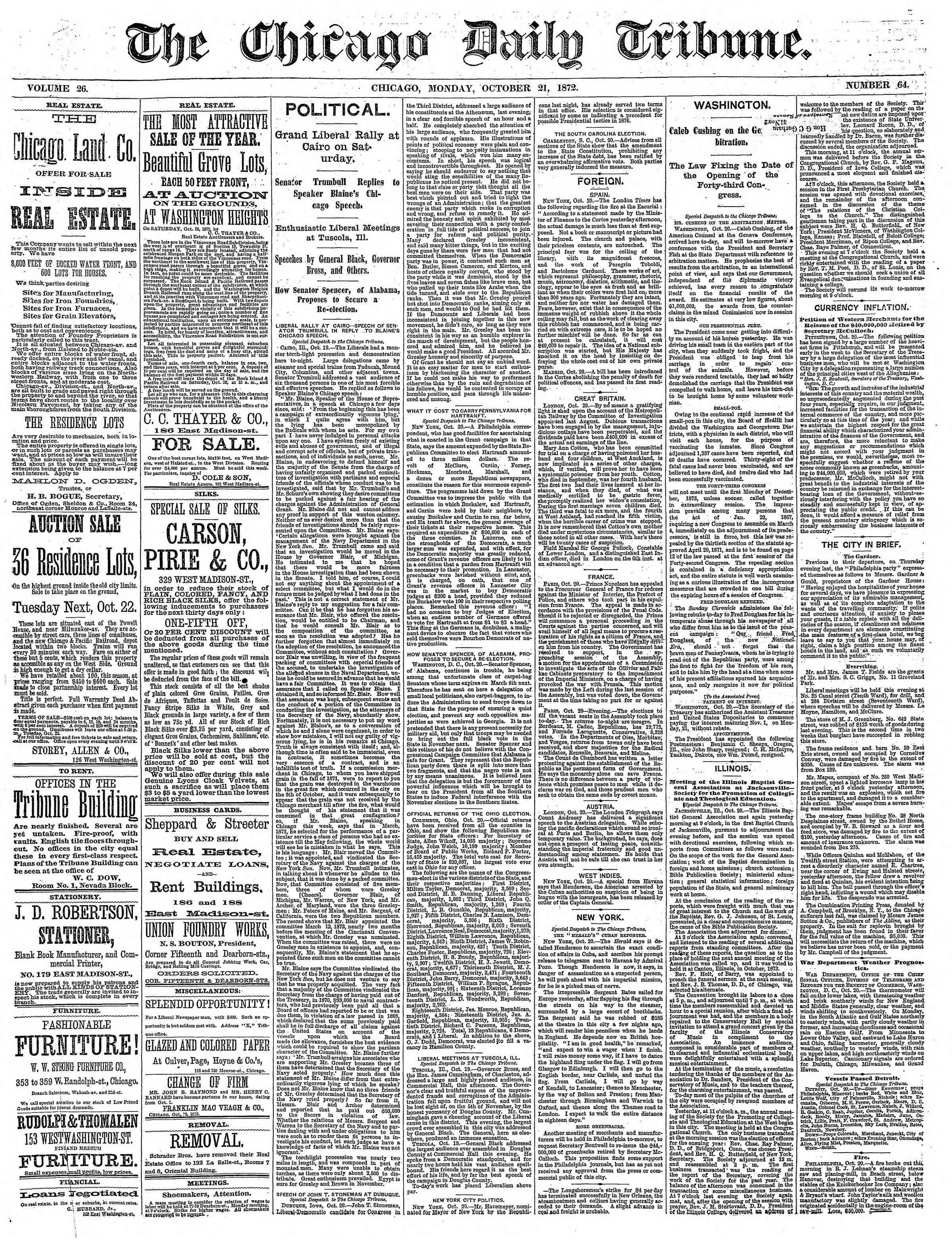 21 Ekim 1872 Tarihli Chicago Daily Tribune Dergisi Sayfa 1