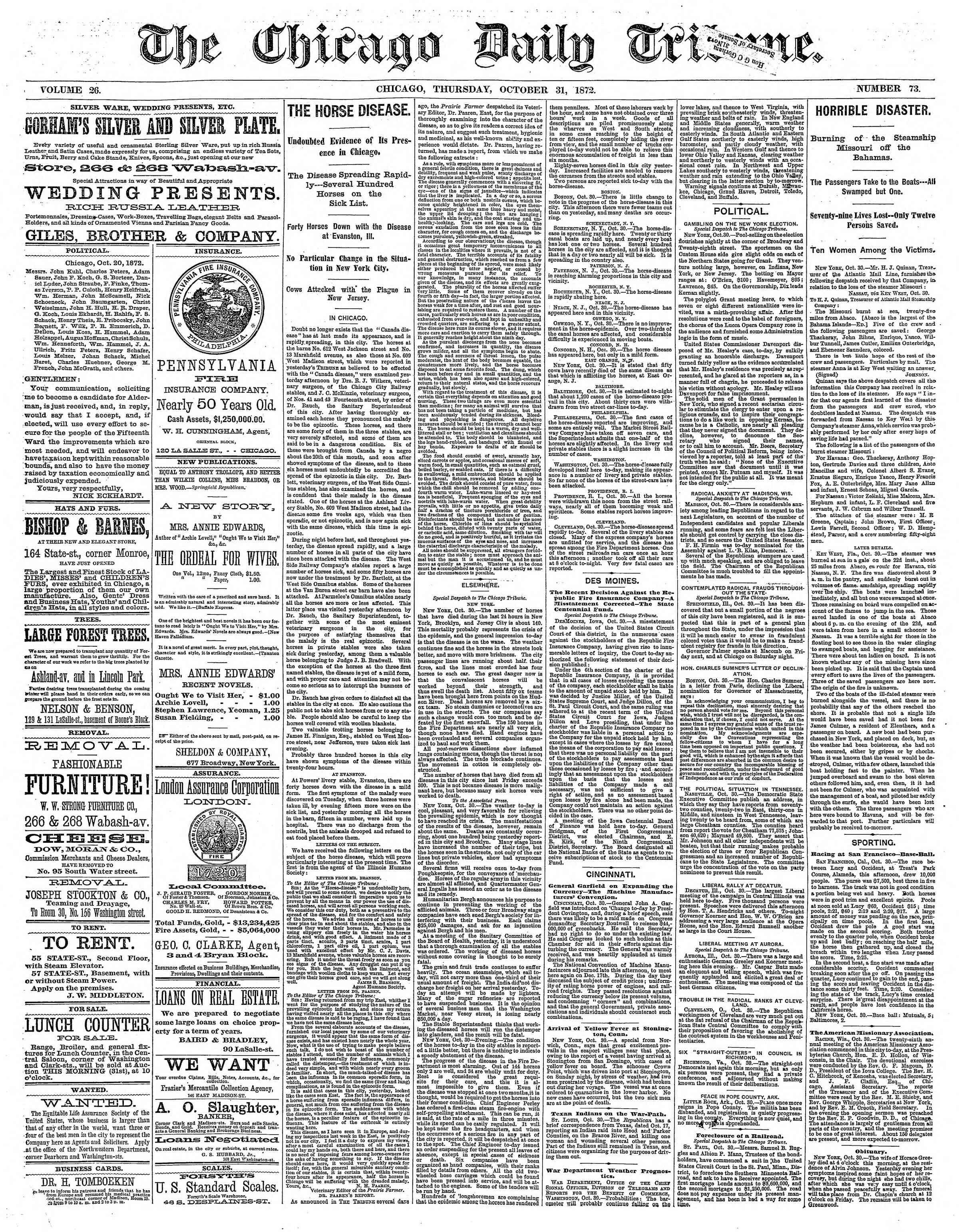31 Ekim 1872 Tarihli Chicago Daily Tribune Dergisi Sayfa 1