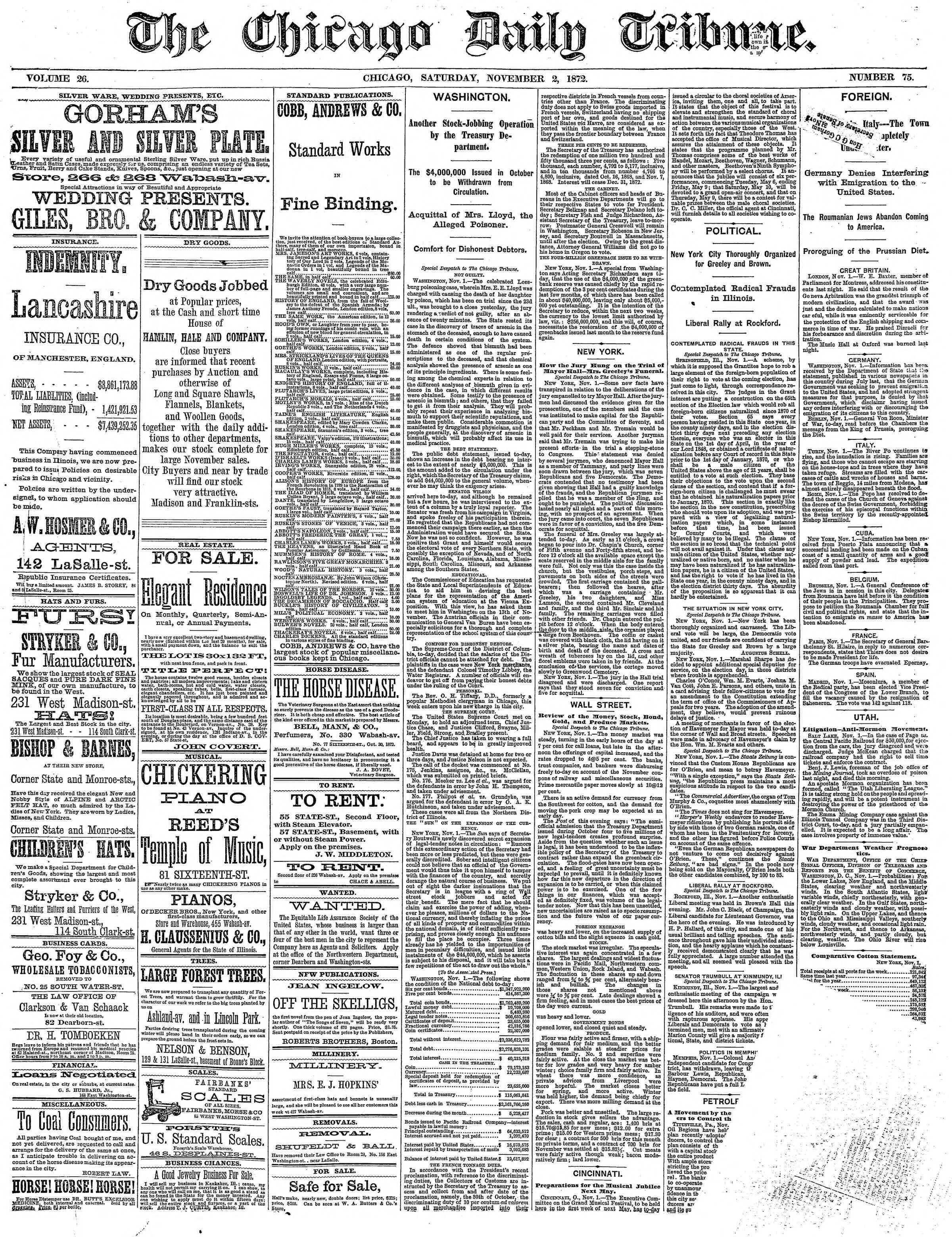 2 Kasım 1872 Tarihli Chicago Daily Tribune Dergisi Sayfa 1