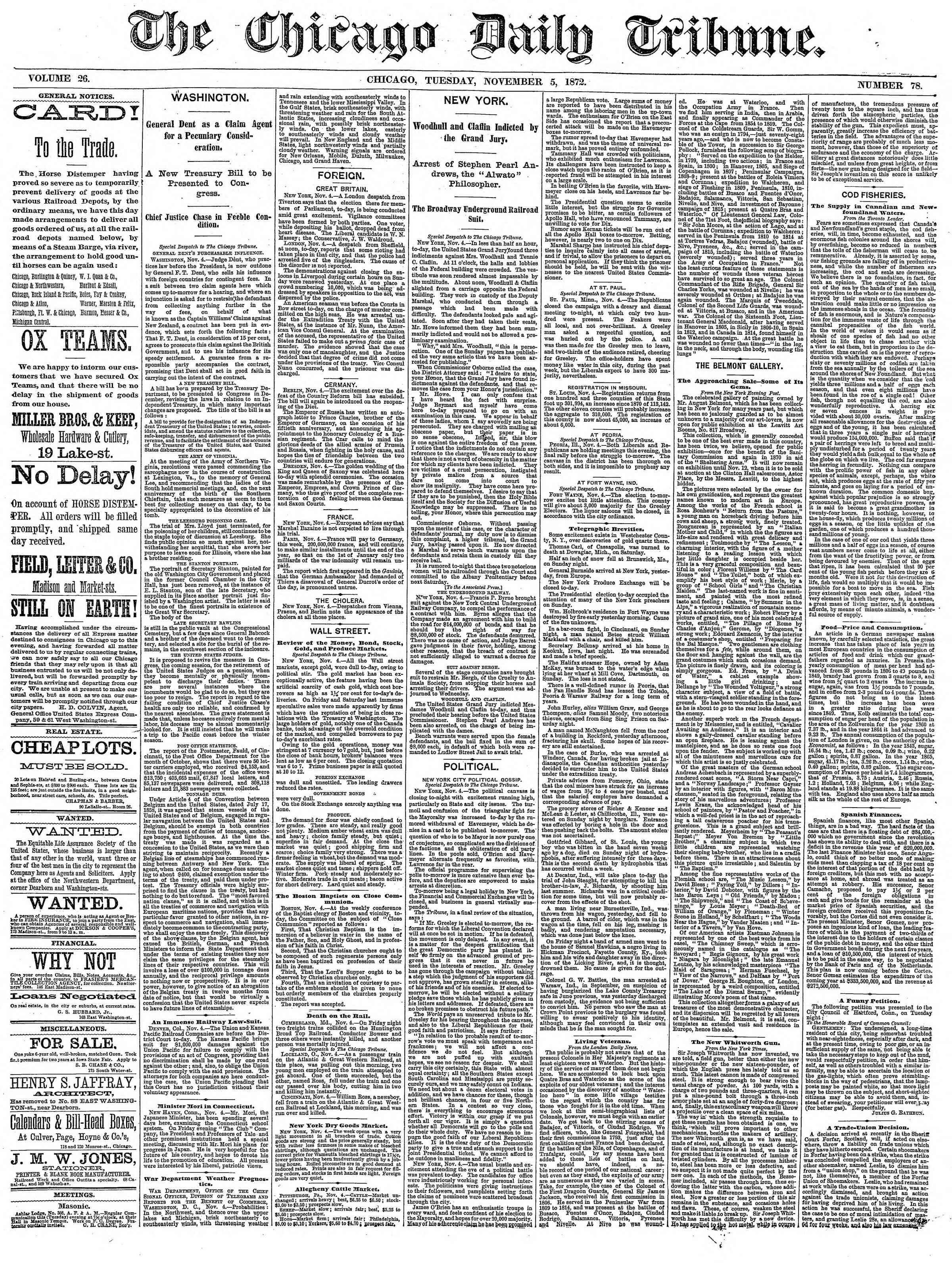 5 Kasım 1872 Tarihli Chicago Daily Tribune Dergisi Sayfa 1