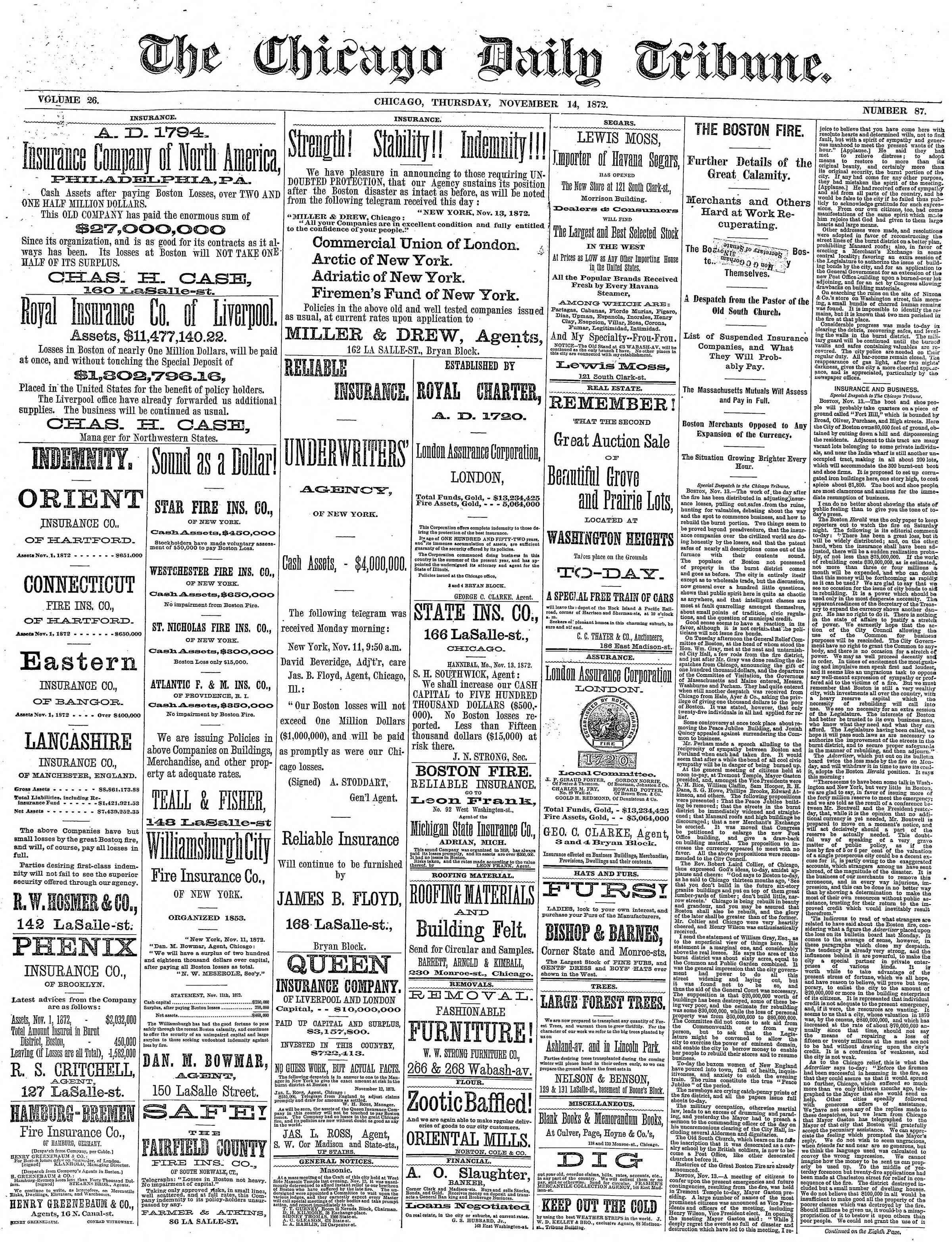 14 Kasım 1872 Tarihli Chicago Daily Tribune Dergisi Sayfa 1
