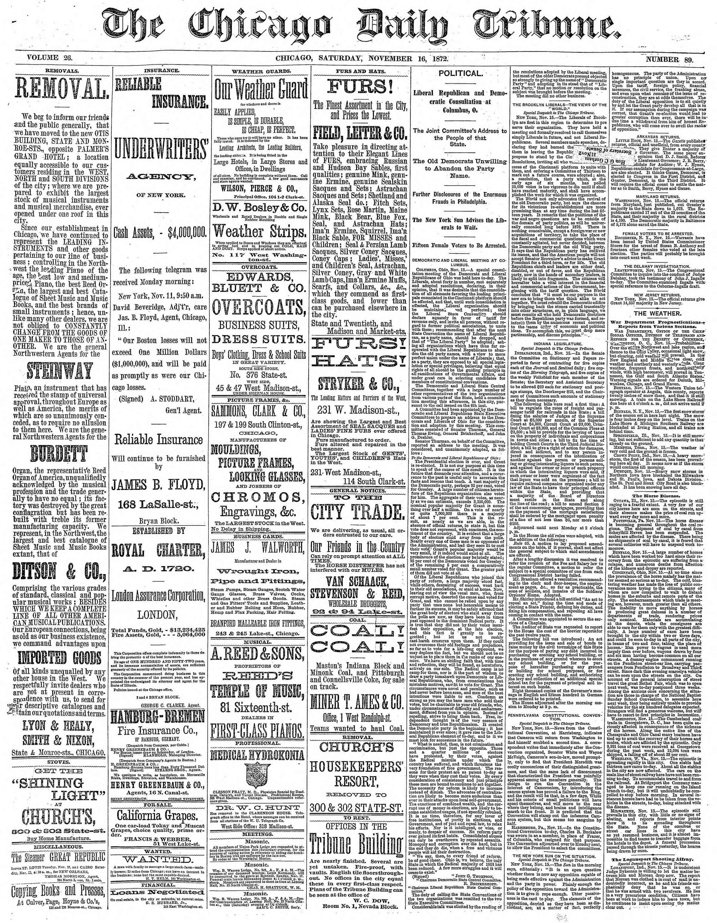 16 Kasım 1872 Tarihli Chicago Daily Tribune Dergisi Sayfa 1