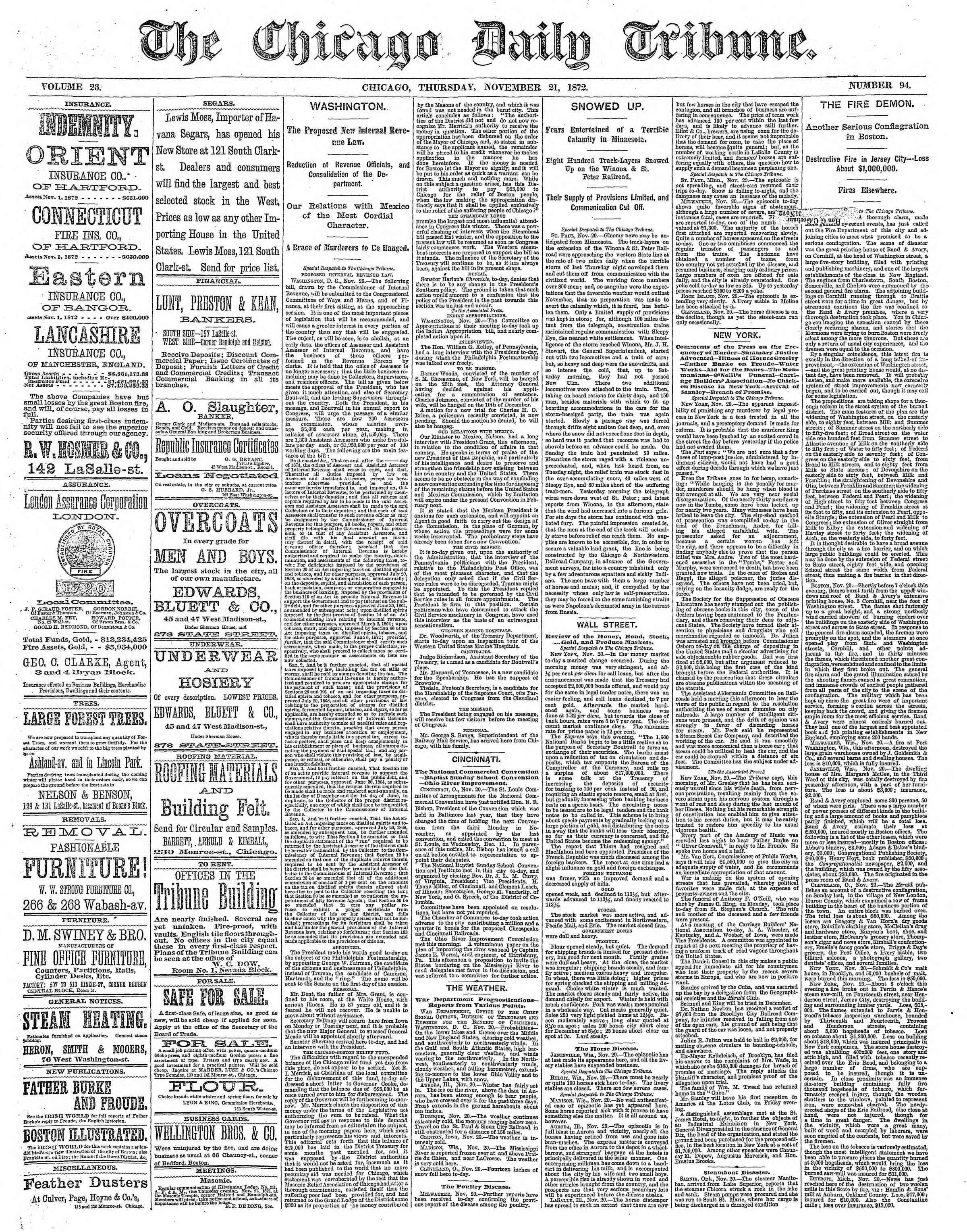 21 Kasım 1872 Tarihli Chicago Daily Tribune Dergisi Sayfa 1