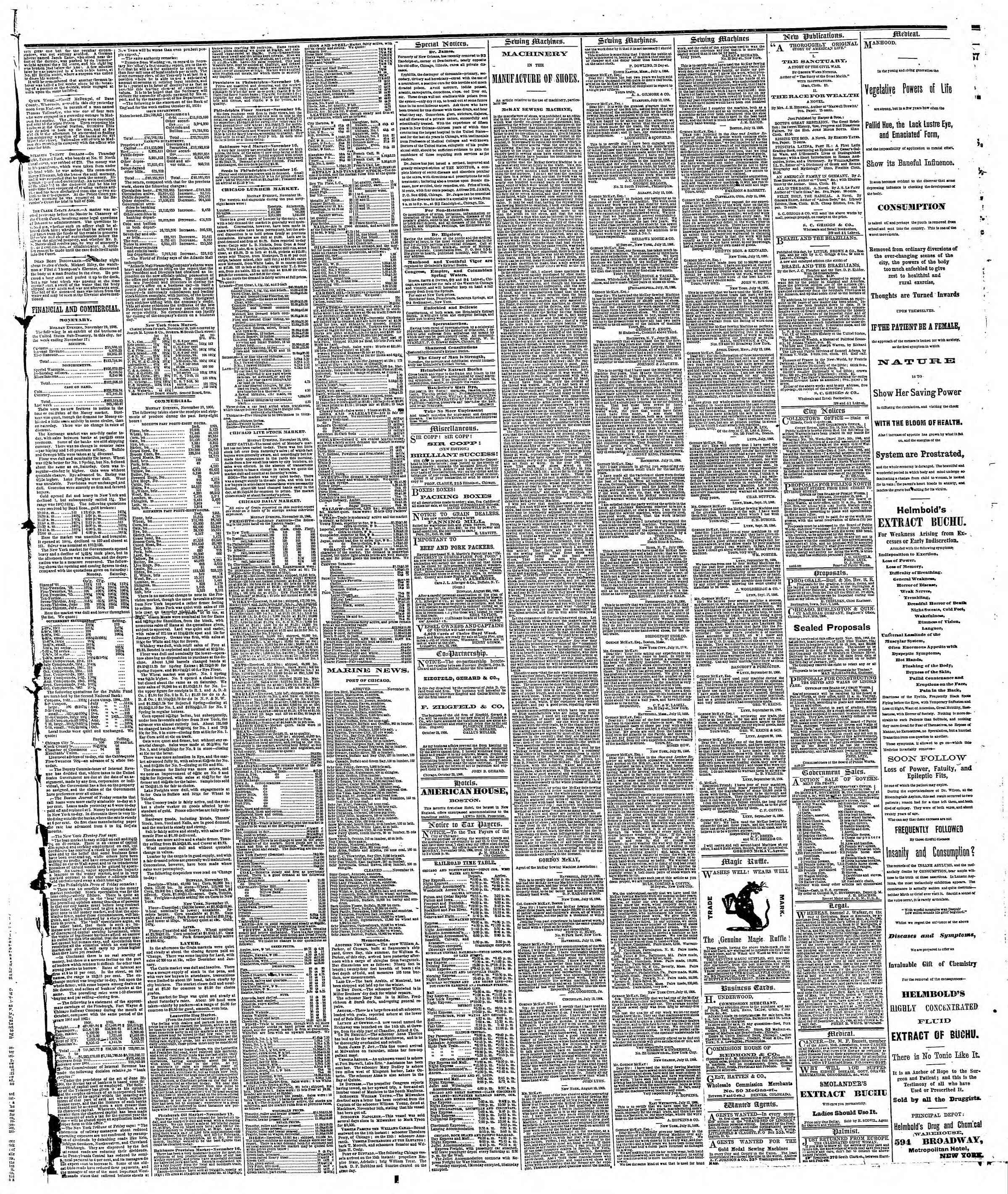 Newspaper of The Chicago Tribune dated November 20, 1866 Page 3
