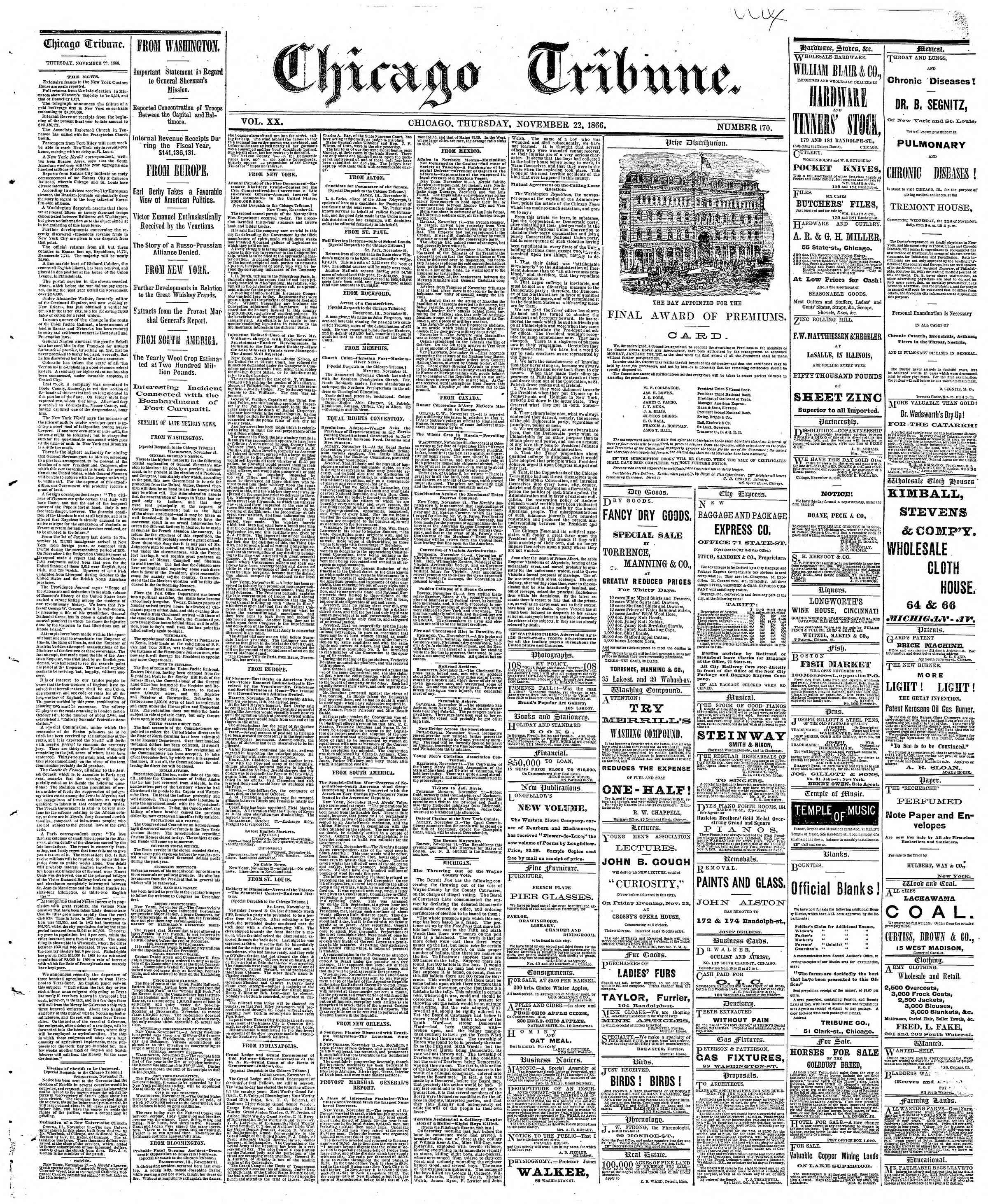 Newspaper of The Chicago Tribune dated November 22, 1866 Page 1