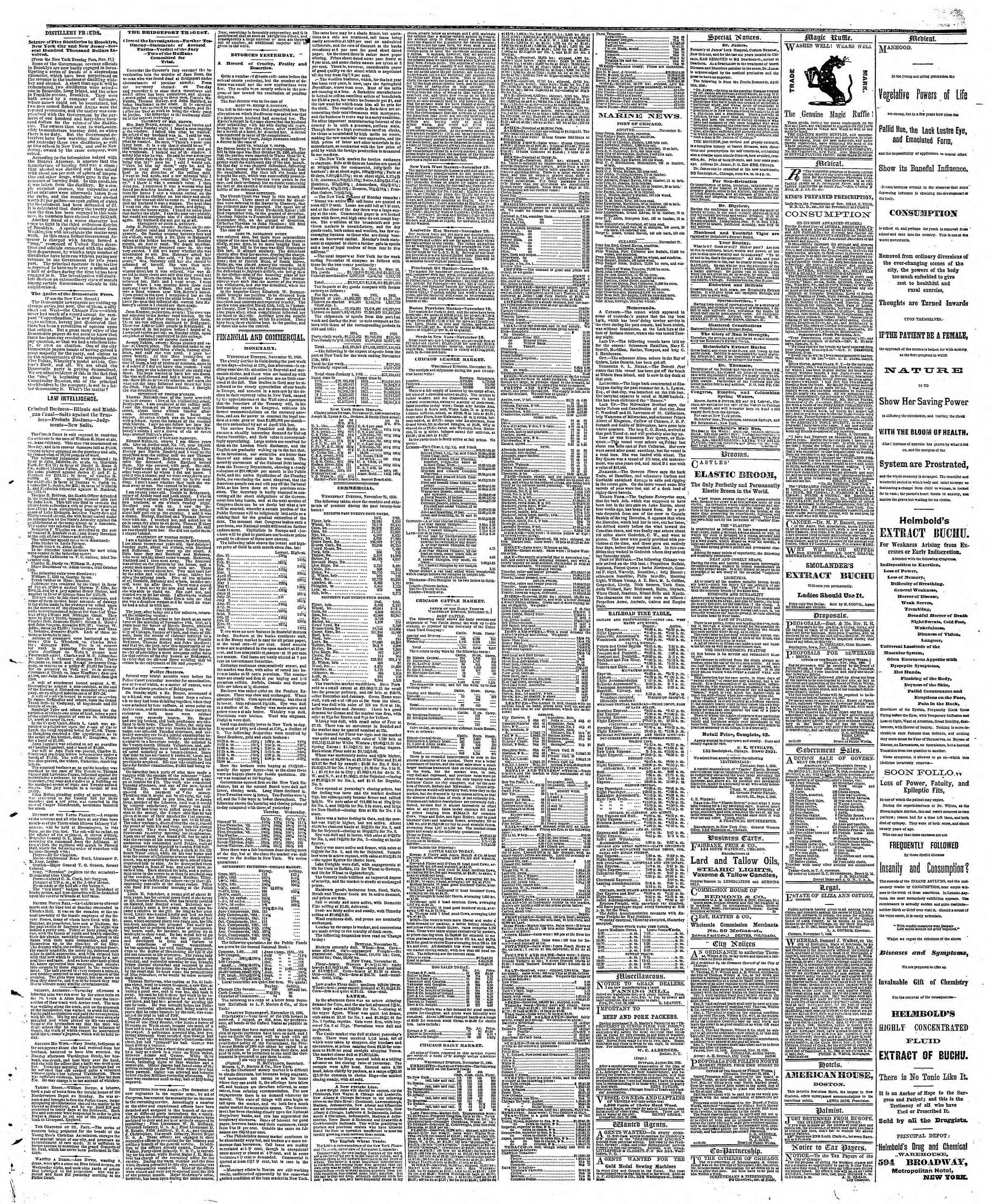 Newspaper of The Chicago Tribune dated November 22, 1866 Page 3