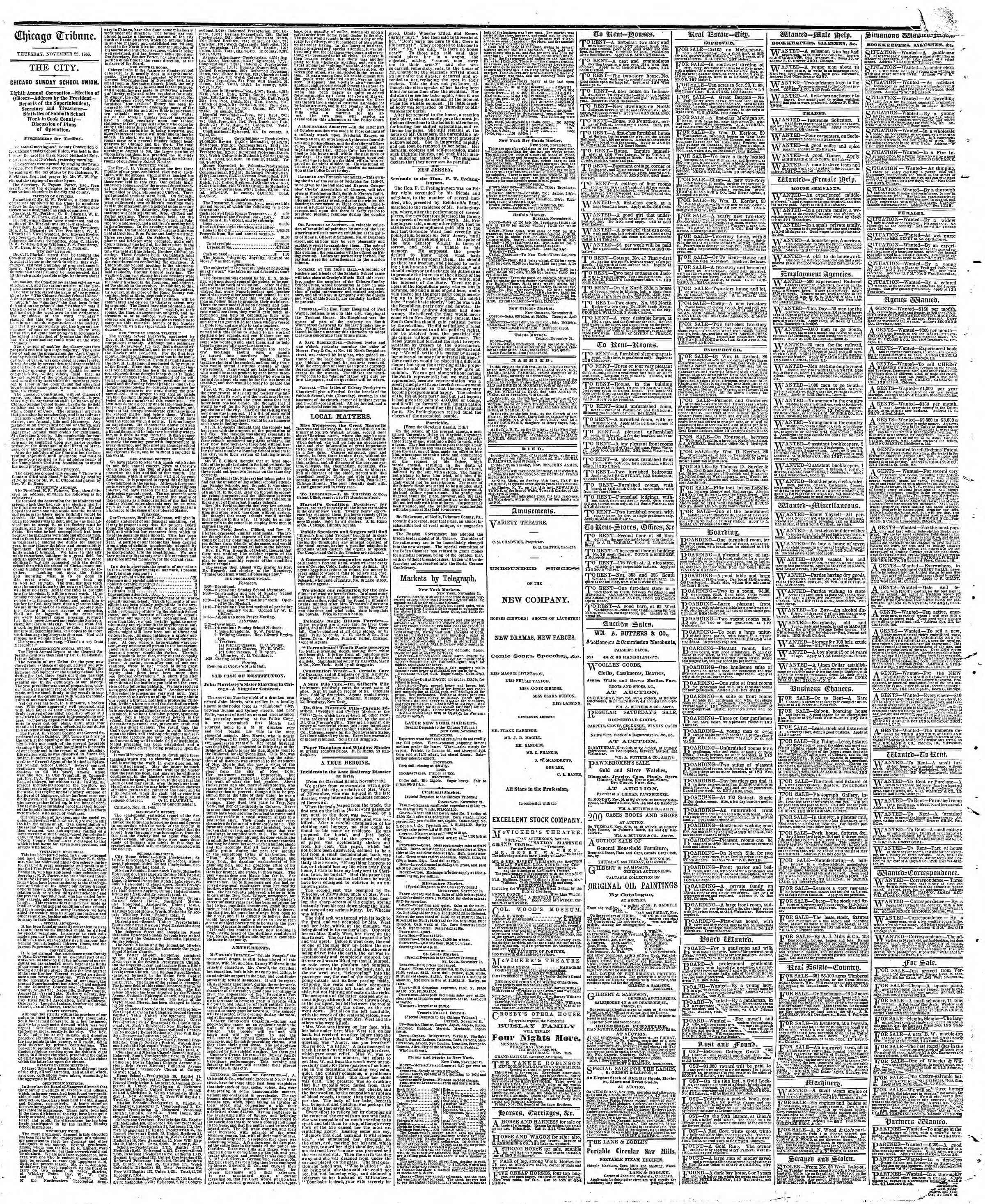 Newspaper of The Chicago Tribune dated November 22, 1866 Page 4