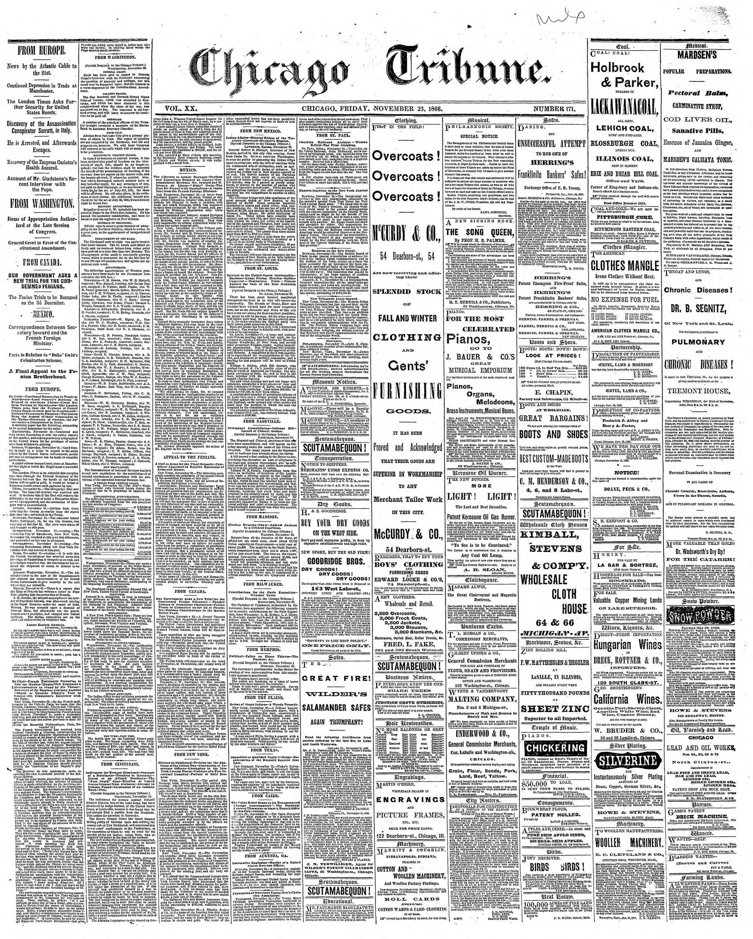 Newspaper of The Chicago Tribune dated November 23, 1866 Page 1