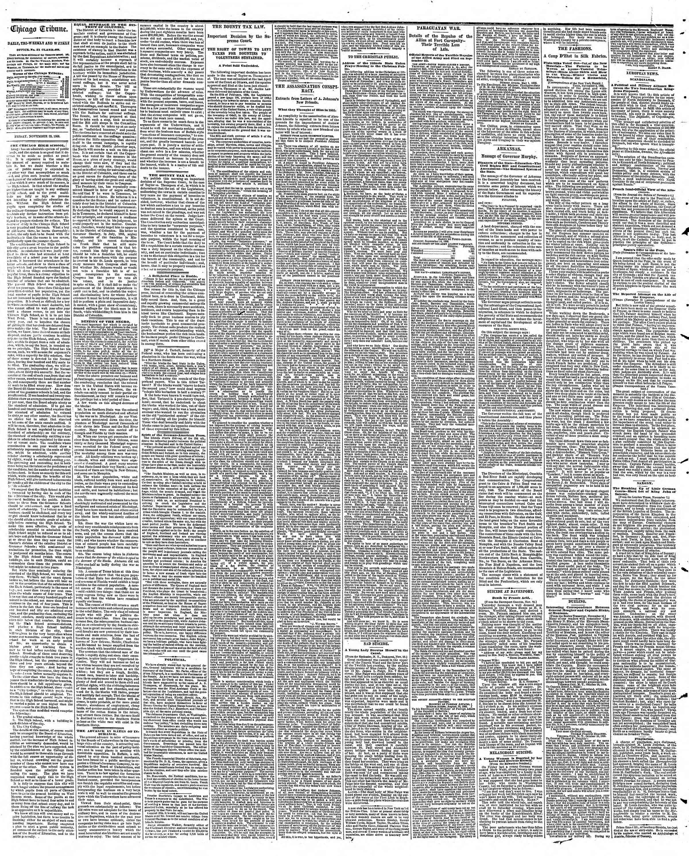 Newspaper of The Chicago Tribune dated November 23, 1866 Page 2