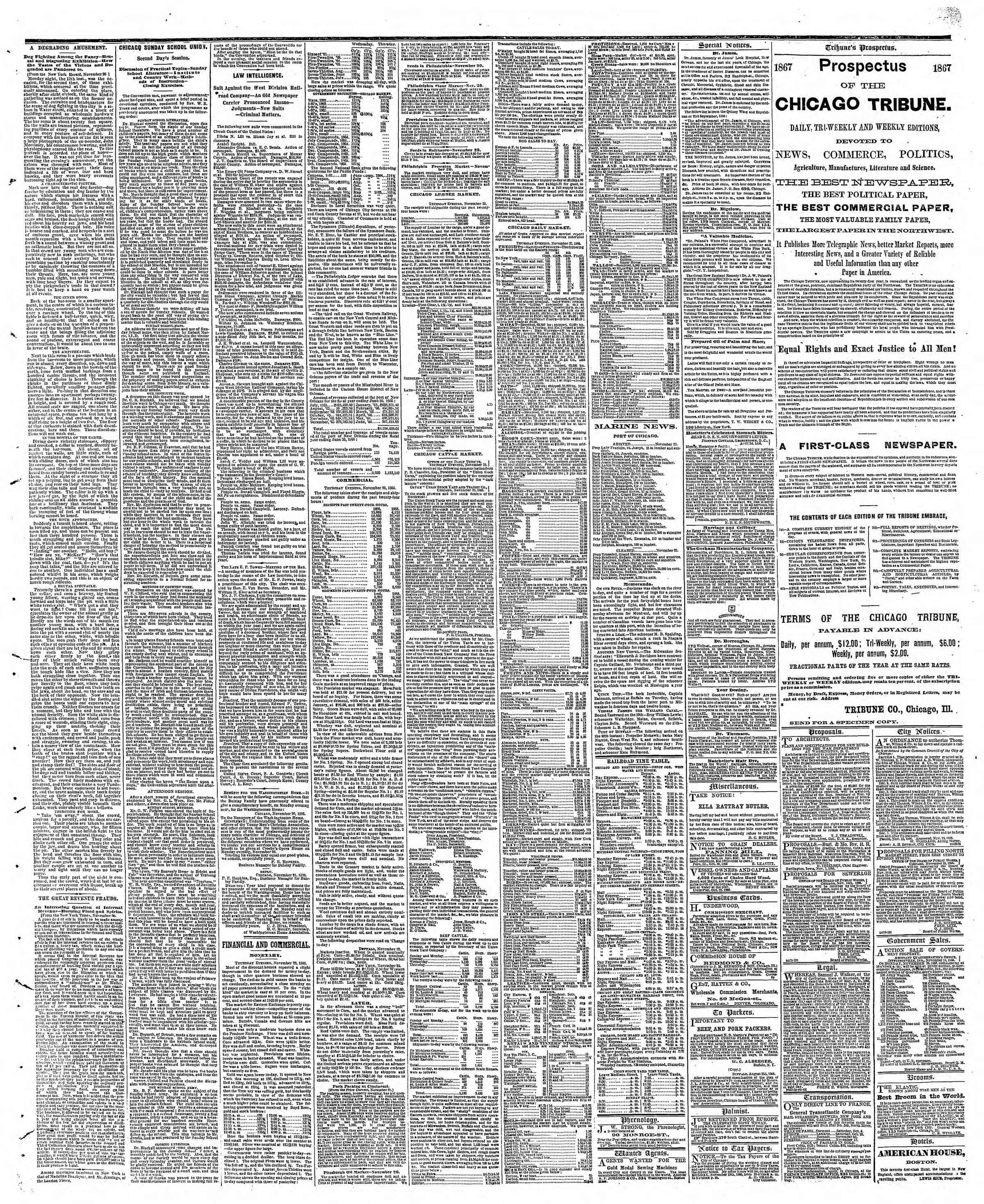 Newspaper of The Chicago Tribune dated November 23, 1866 Page 3