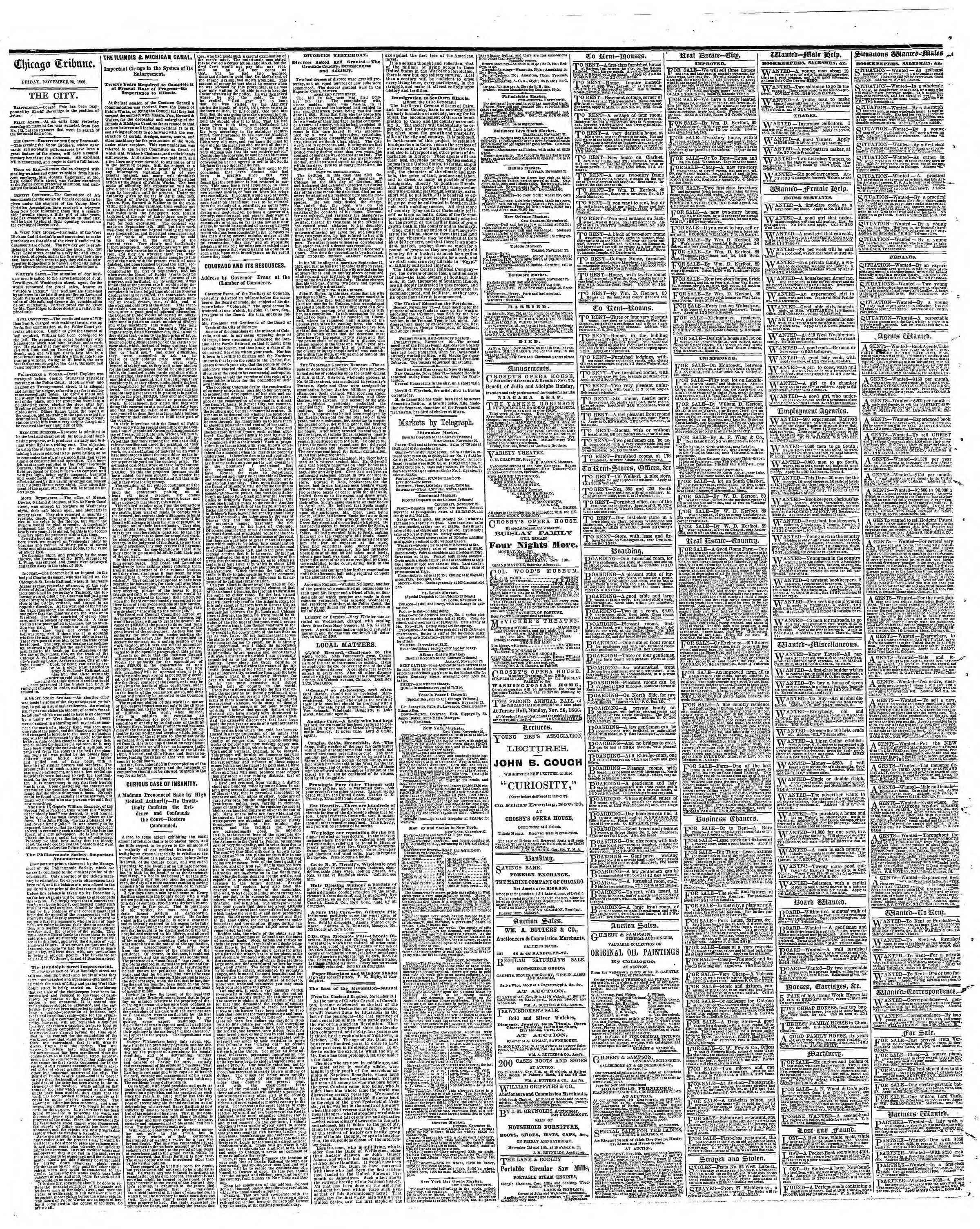 Newspaper of The Chicago Tribune dated 23 Kasım 1866 Page 4