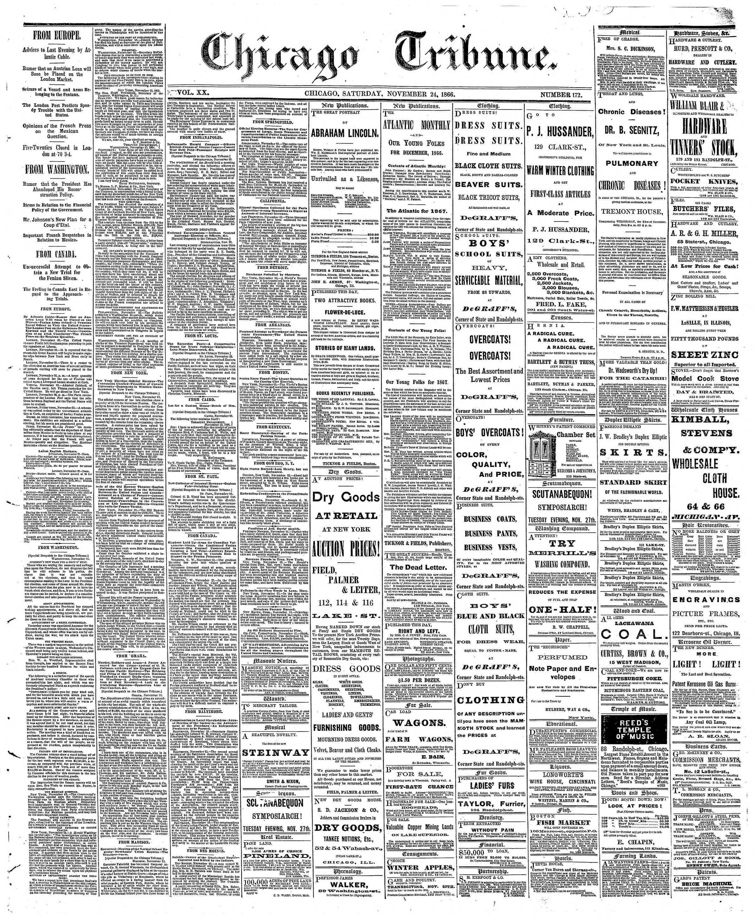 Newspaper of The Chicago Tribune dated November 24, 1866 Page 1
