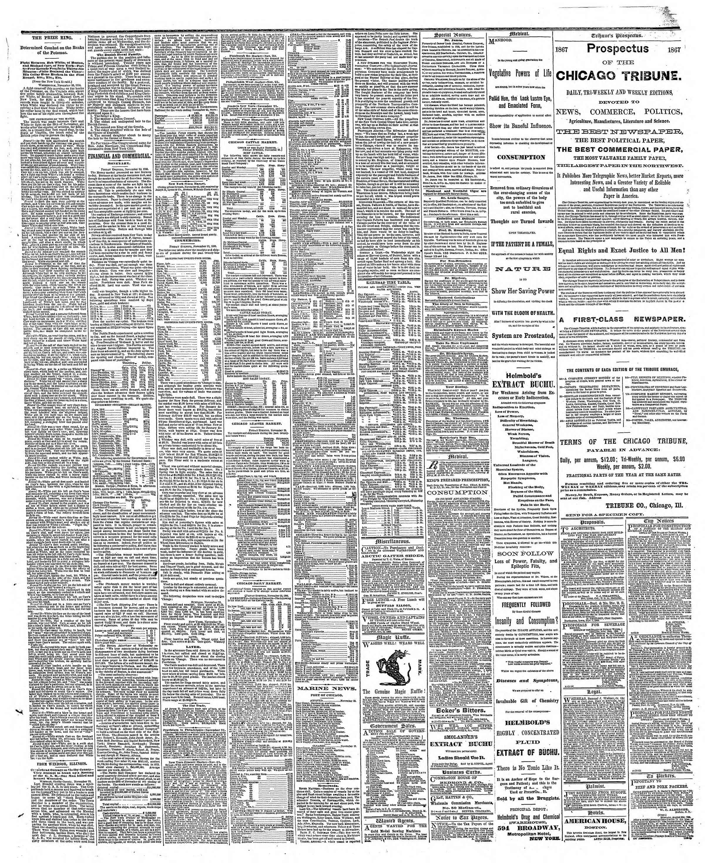 Newspaper of The Chicago Tribune dated November 24, 1866 Page 3