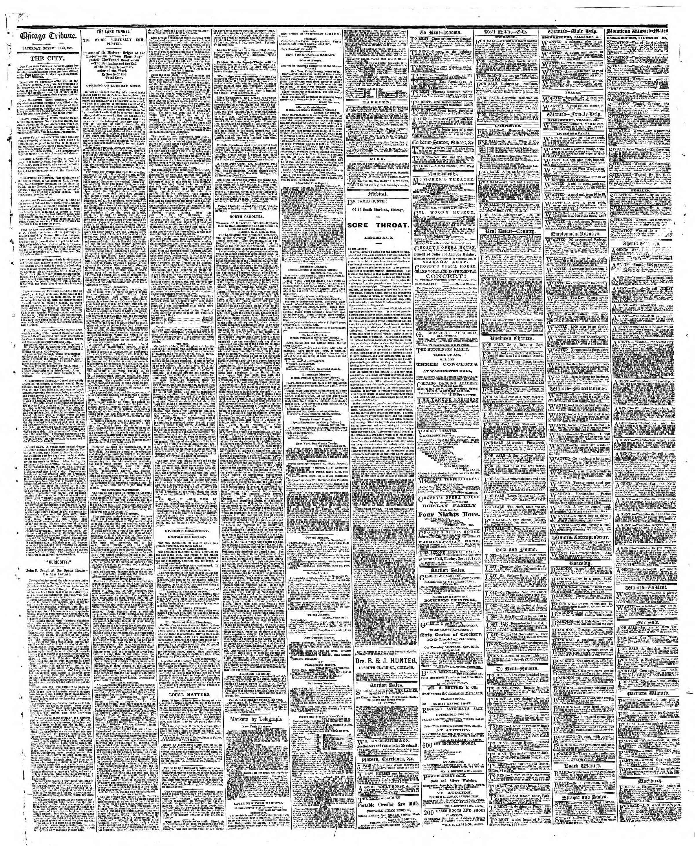 Newspaper of The Chicago Tribune dated November 24, 1866 Page 4