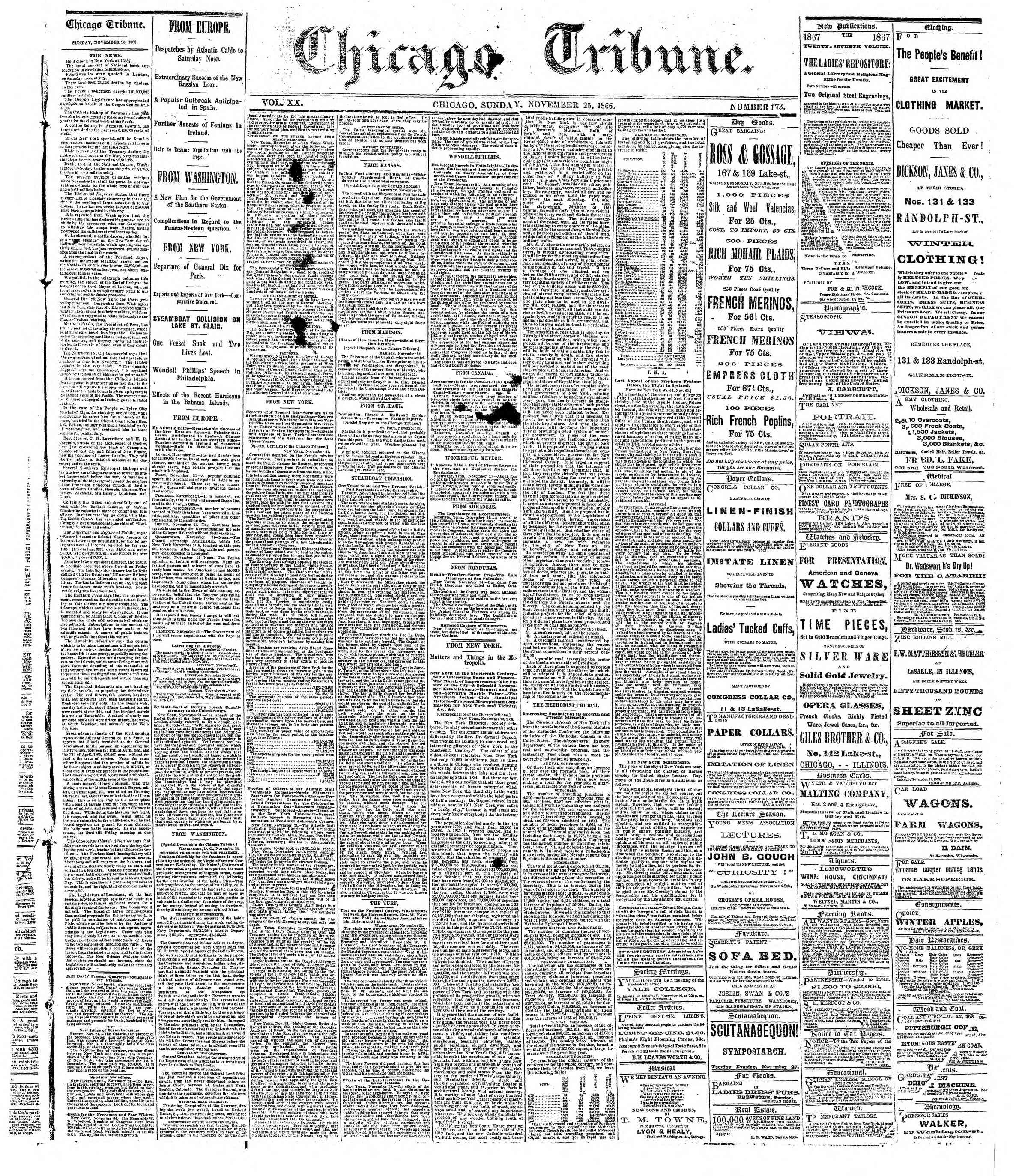 Newspaper of The Chicago Tribune dated November 25, 1866 Page 1