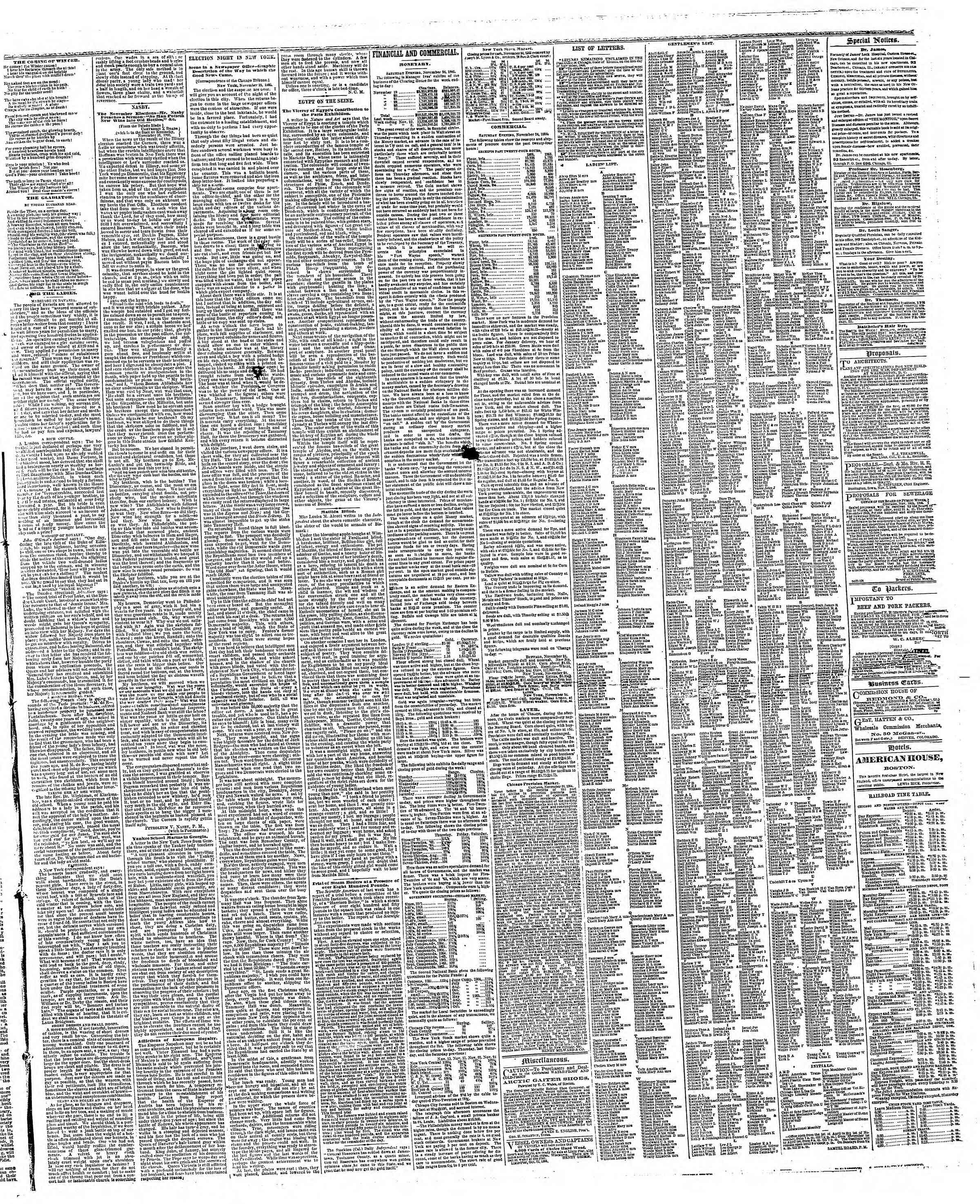 Newspaper of The Chicago Tribune dated November 25, 1866 Page 3