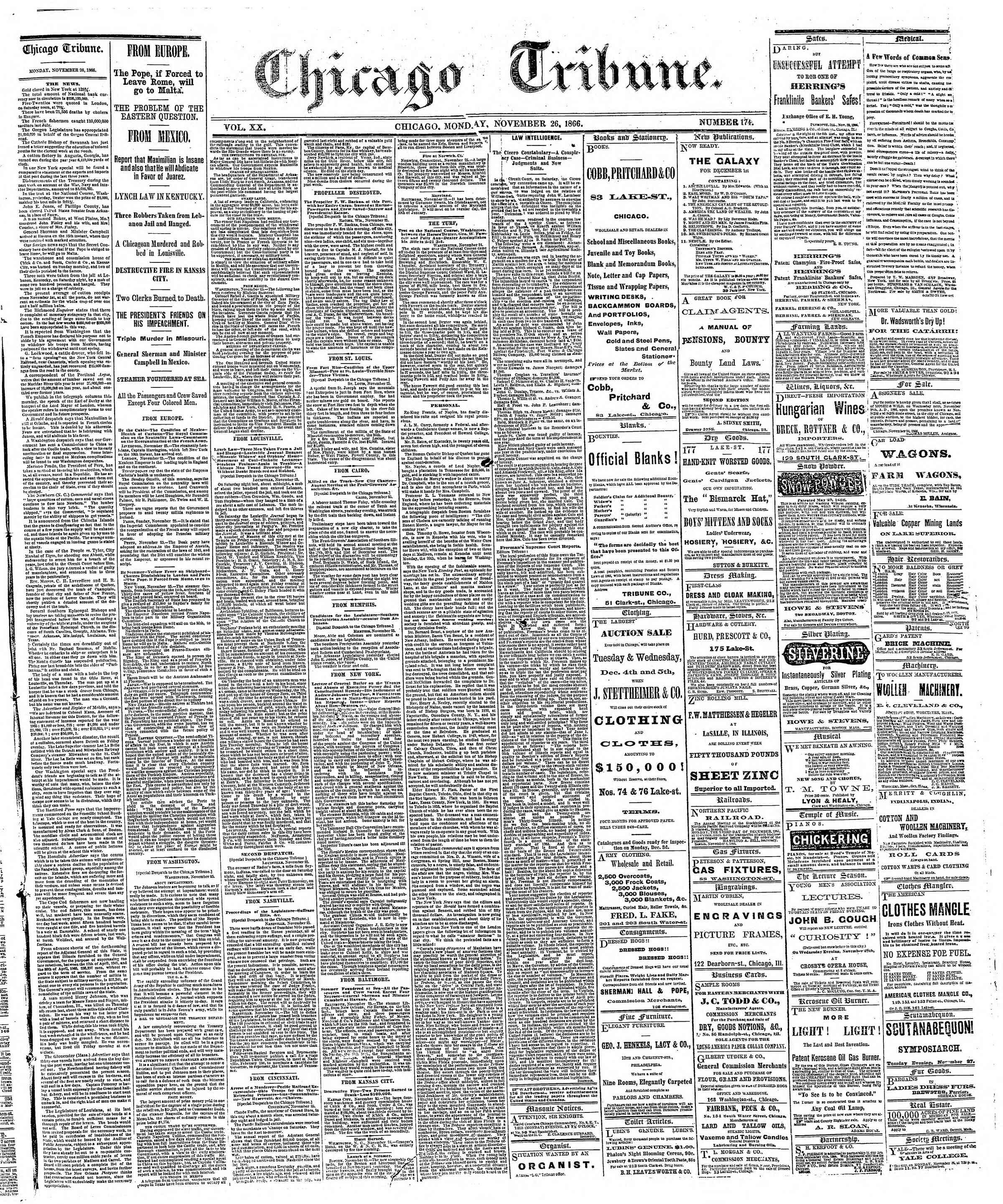 Newspaper of The Chicago Tribune dated November 26, 1866 Page 1