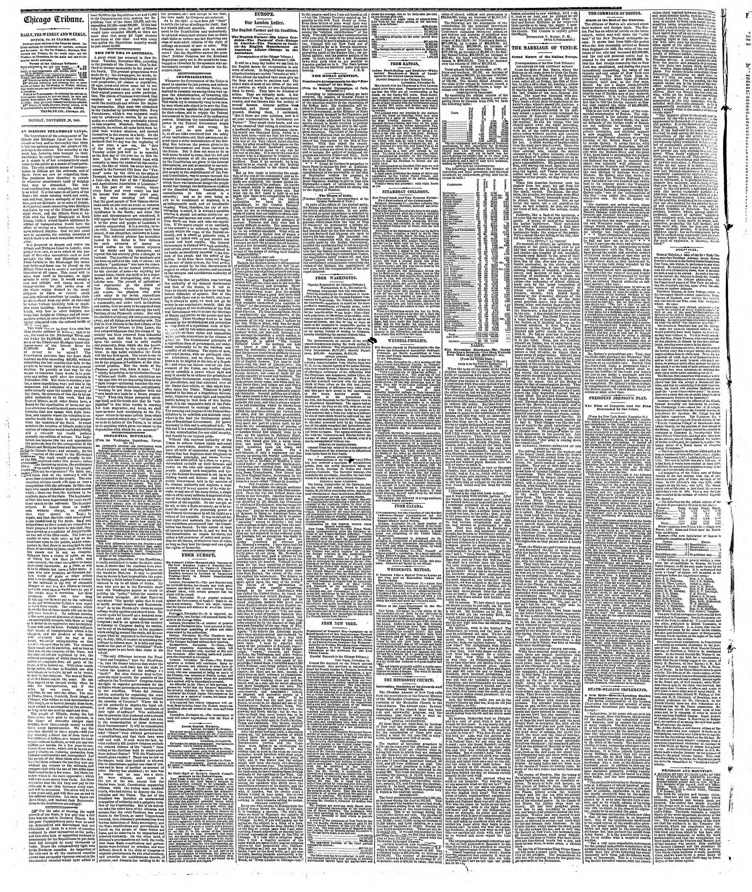 Newspaper of The Chicago Tribune dated November 26, 1866 Page 2