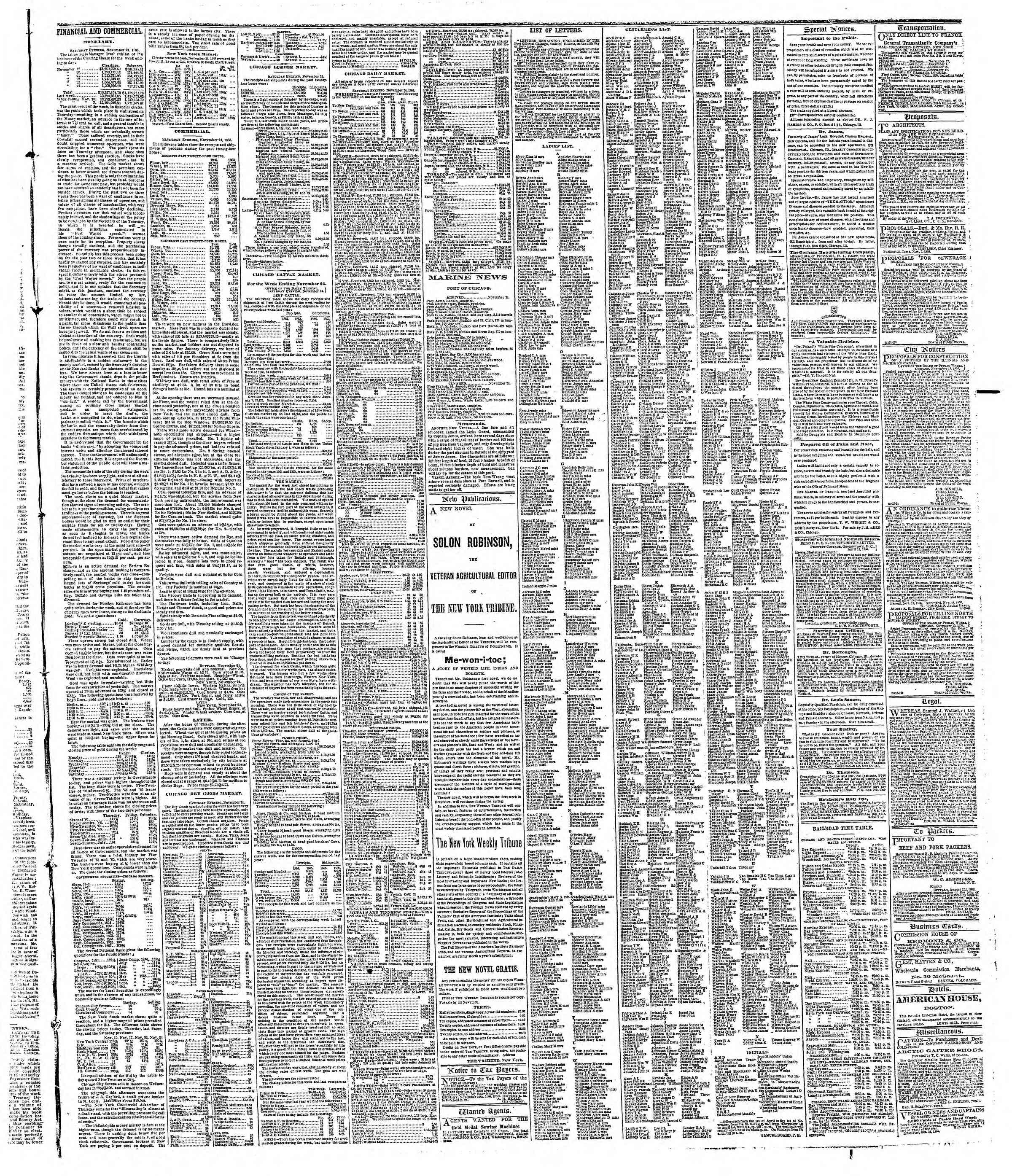 Newspaper of The Chicago Tribune dated November 26, 1866 Page 3