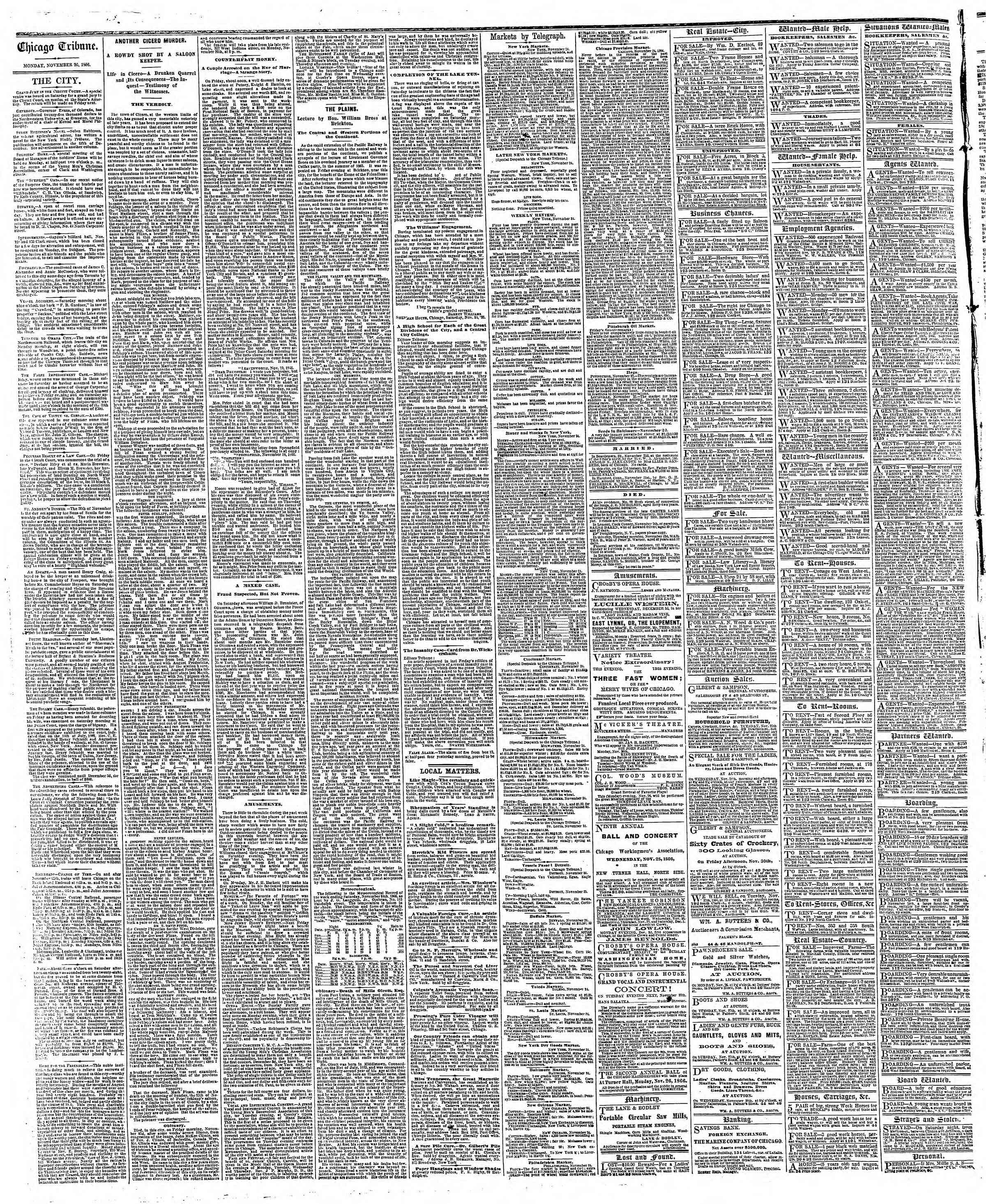 Newspaper of The Chicago Tribune dated November 26, 1866 Page 4
