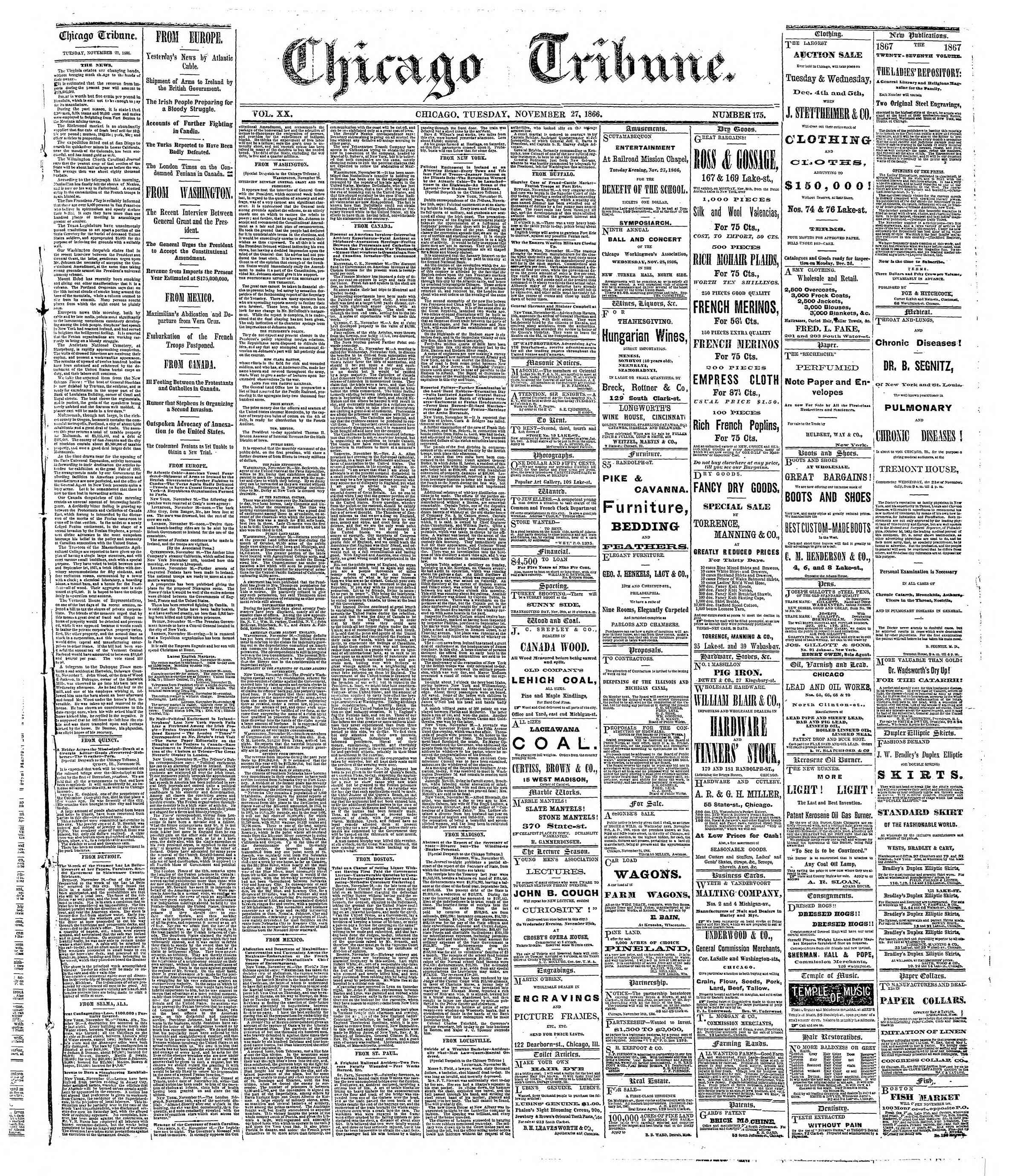 Newspaper of The Chicago Tribune dated November 27, 1866 Page 1