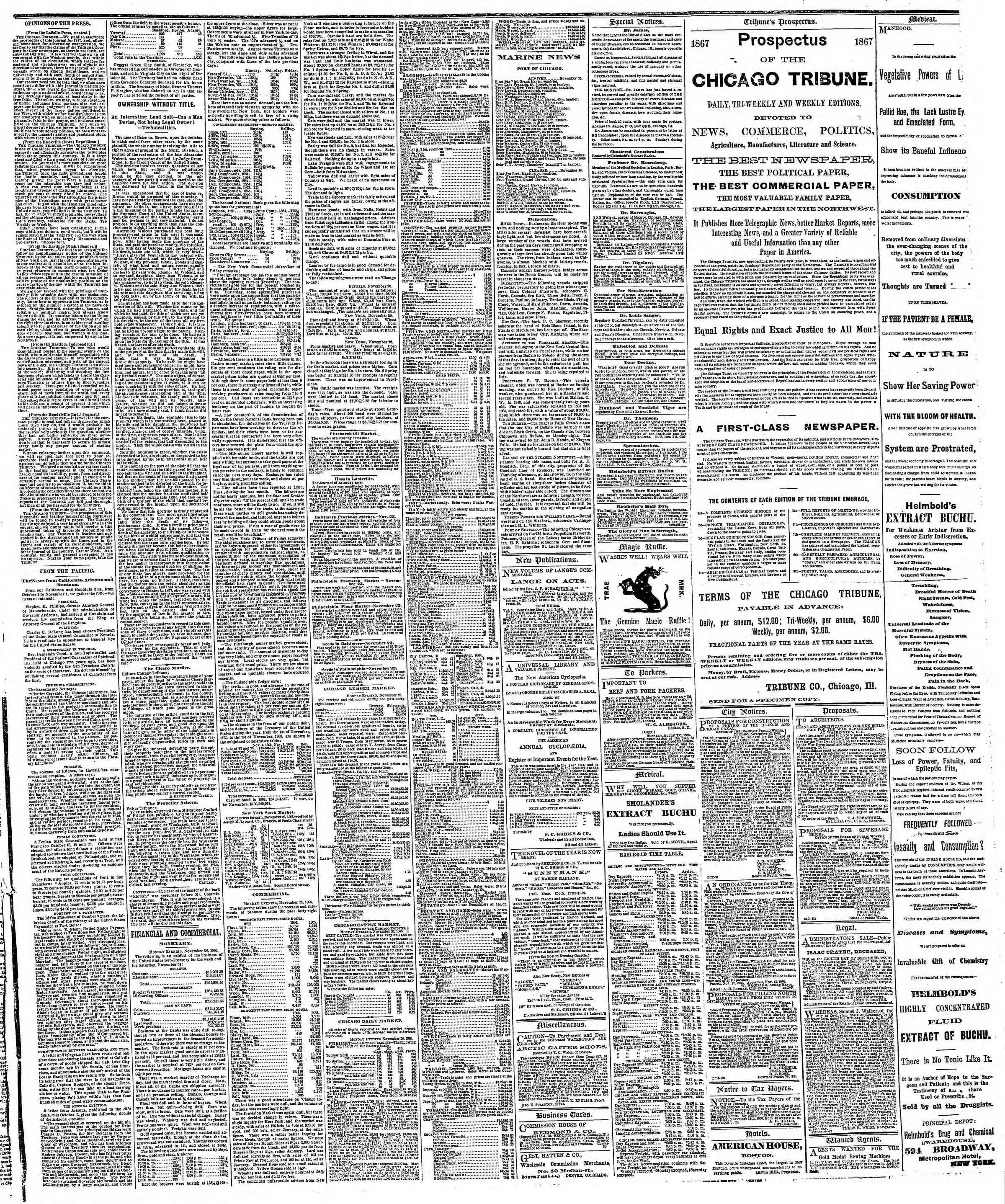 Newspaper of The Chicago Tribune dated November 27, 1866 Page 3