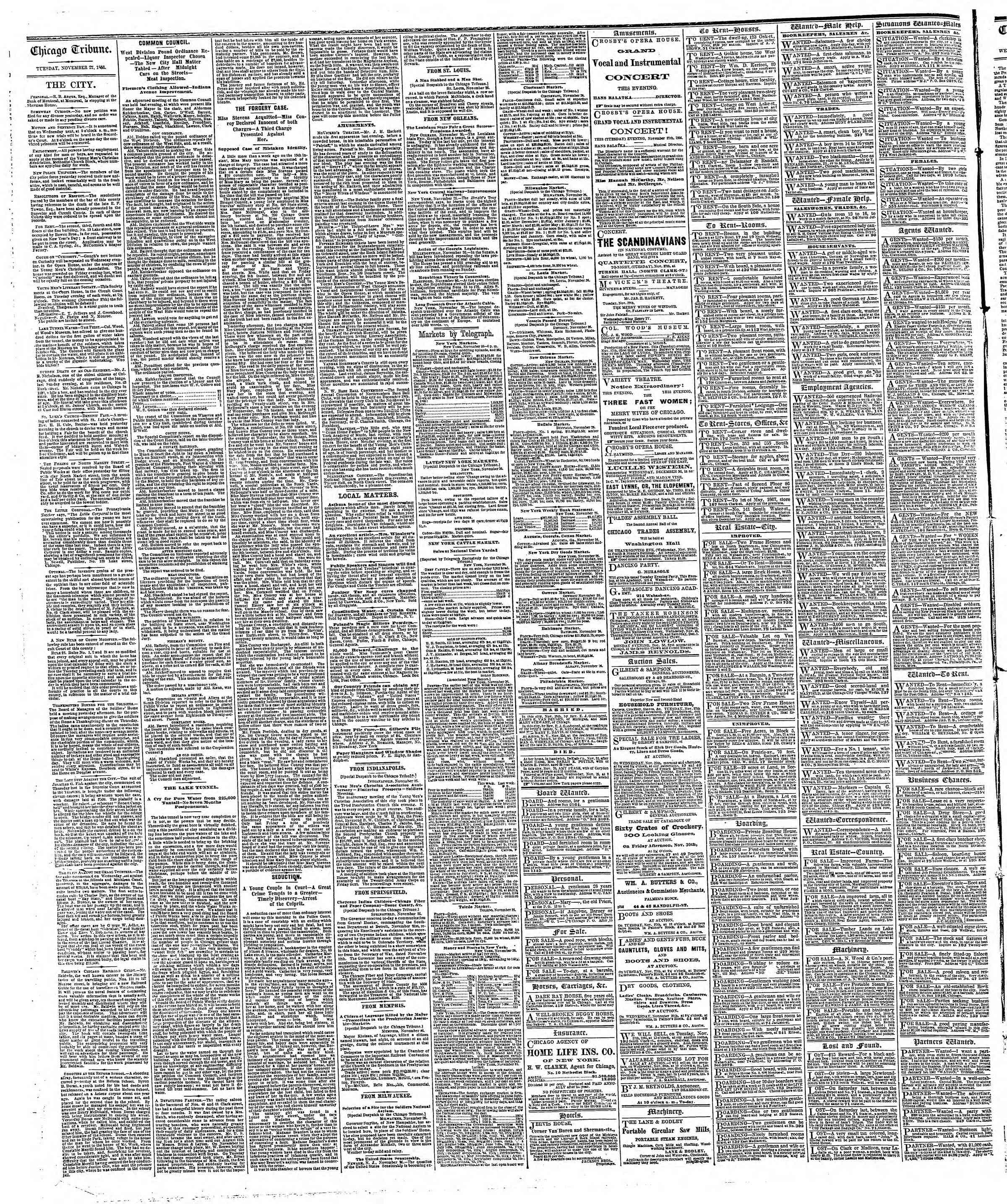 Newspaper of The Chicago Tribune dated November 27, 1866 Page 4