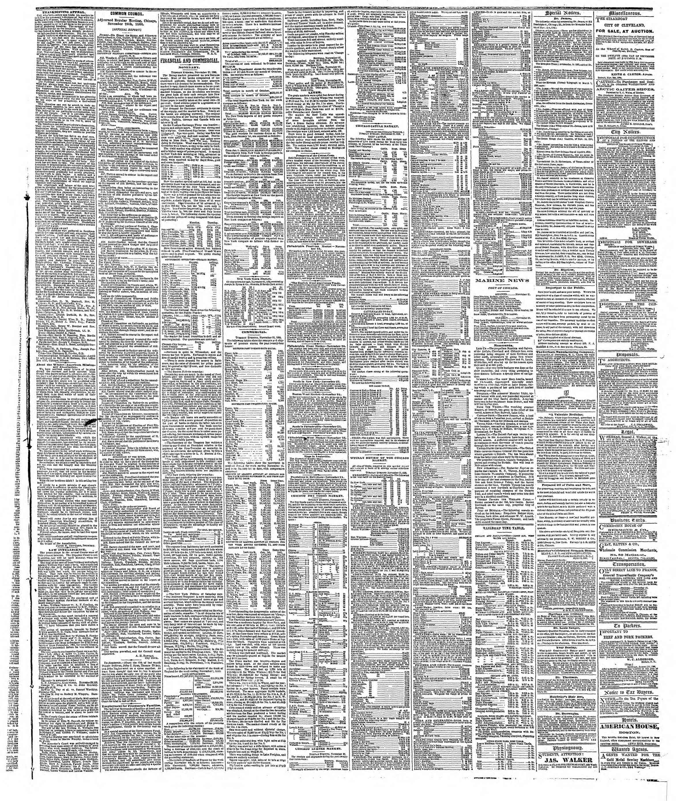 Newspaper of The Chicago Tribune dated November 28, 1866 Page 3