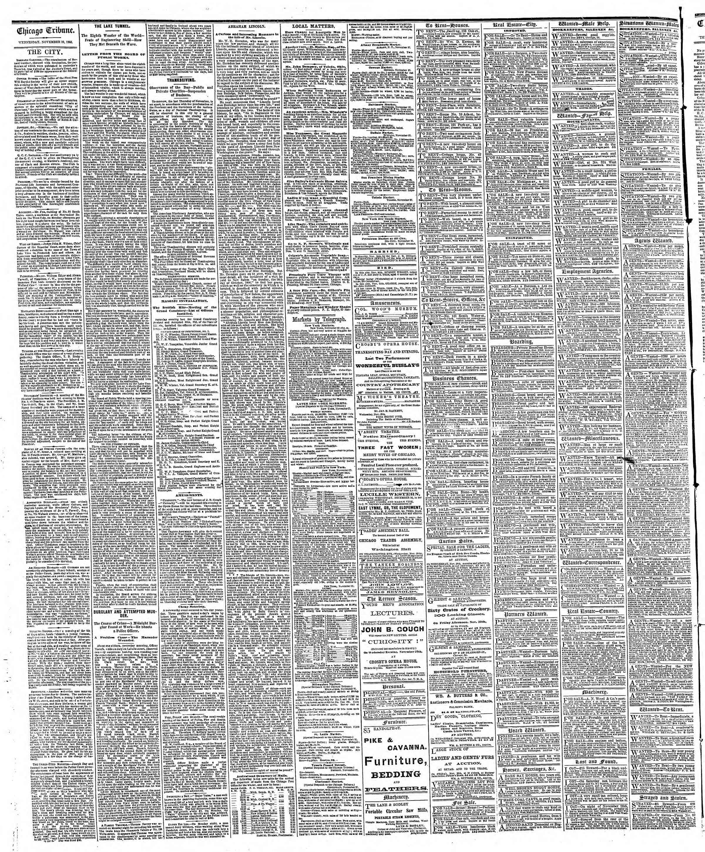 Newspaper of The Chicago Tribune dated November 28, 1866 Page 4