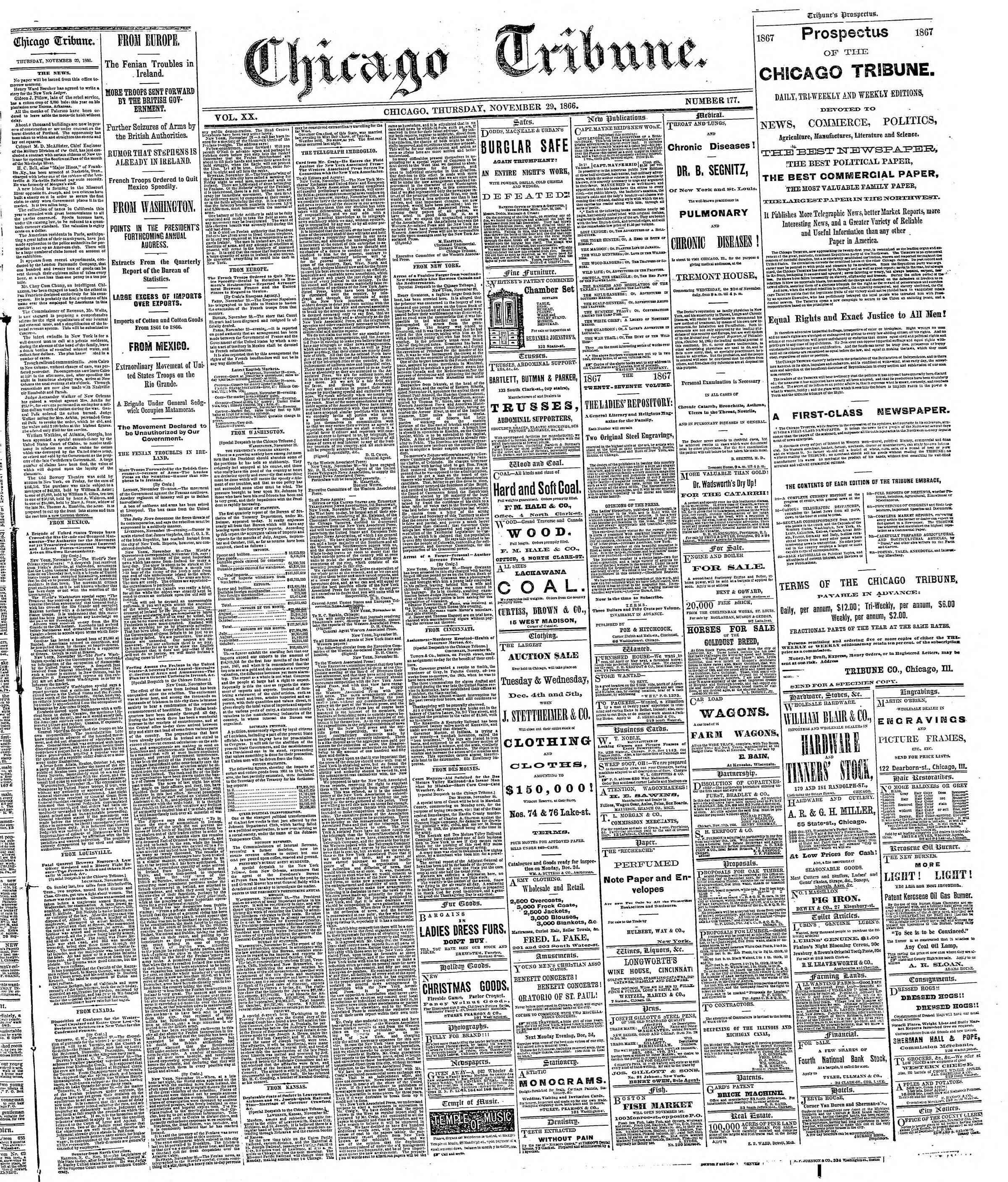 Newspaper of The Chicago Tribune dated November 29, 1866 Page 1
